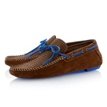 Benzel woven embossed tie driver shoes
