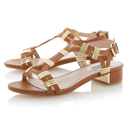 Dune Faith buckle block heel sandals