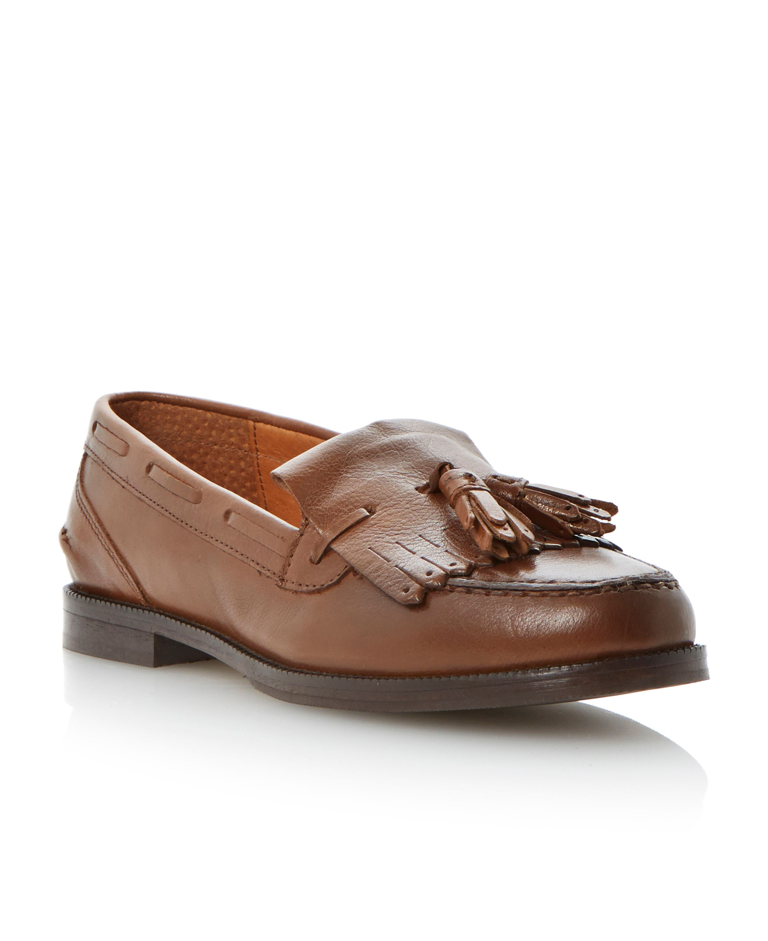 Laine leather block heel round toe loafer shoes