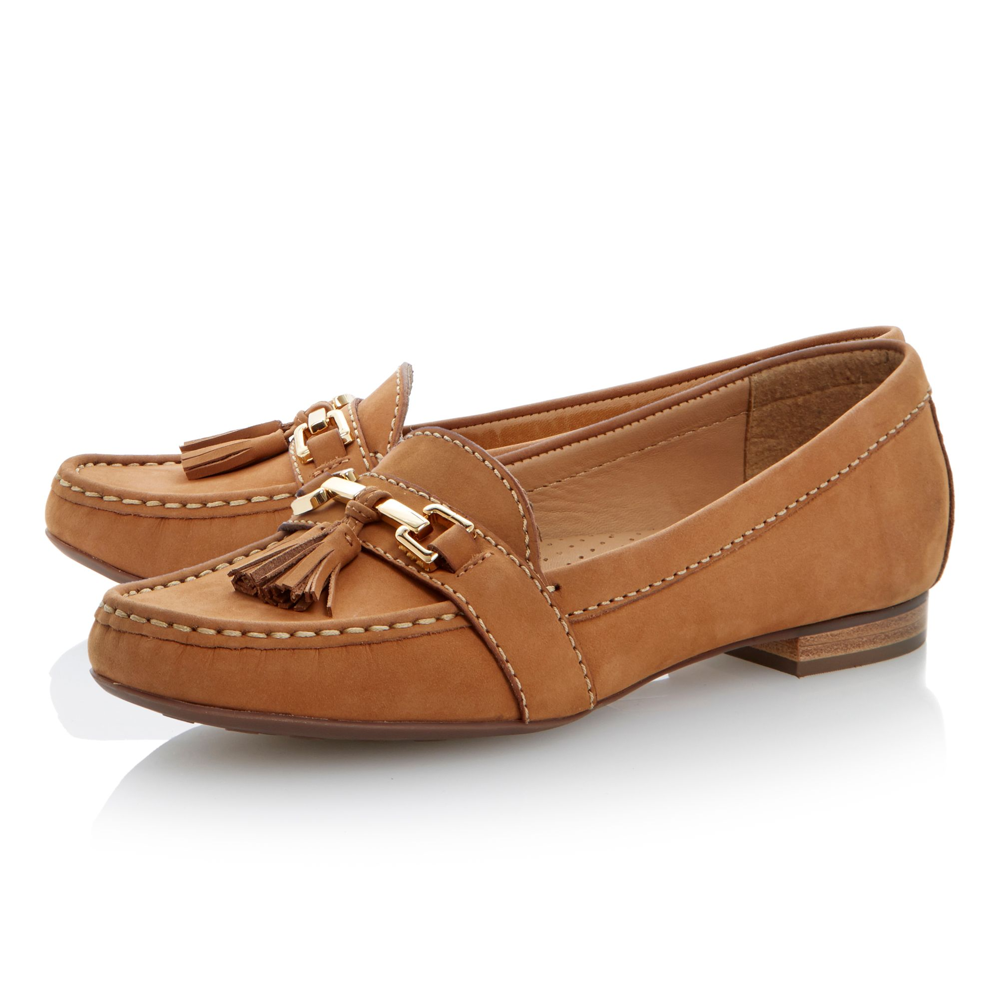 Luminous leather flat loafer shoes
