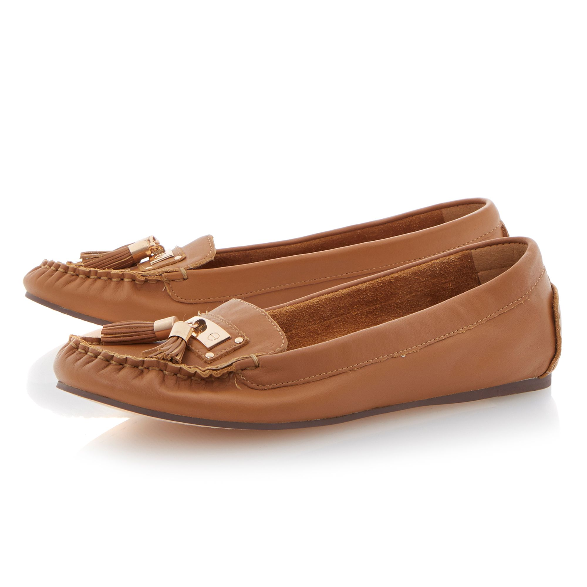 Lotus leather flat round toe loafer shoes