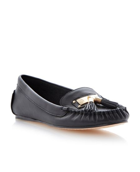 Dune Lotus leather flat round toe loafer shoes