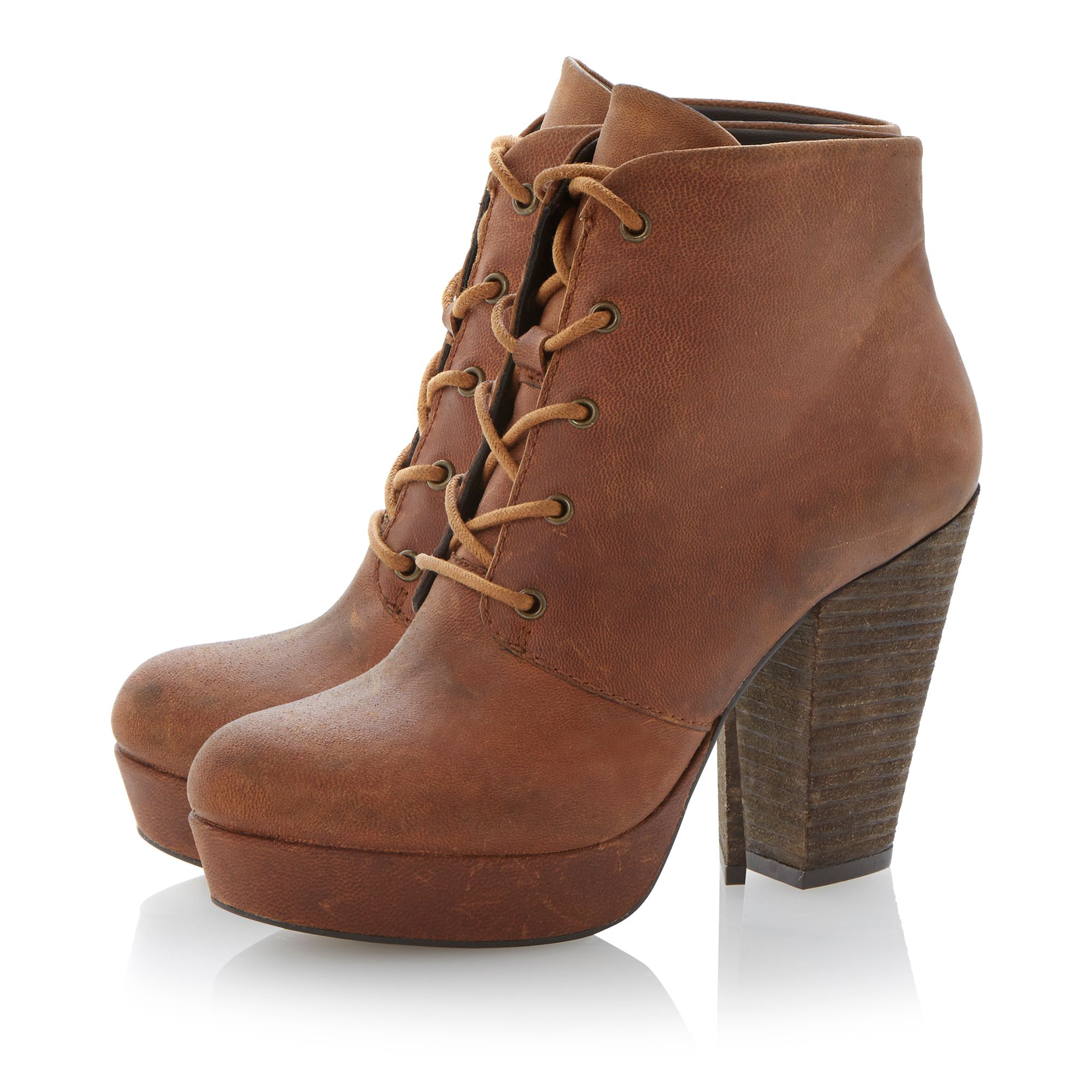 Raspy leather almond toe block heel boots