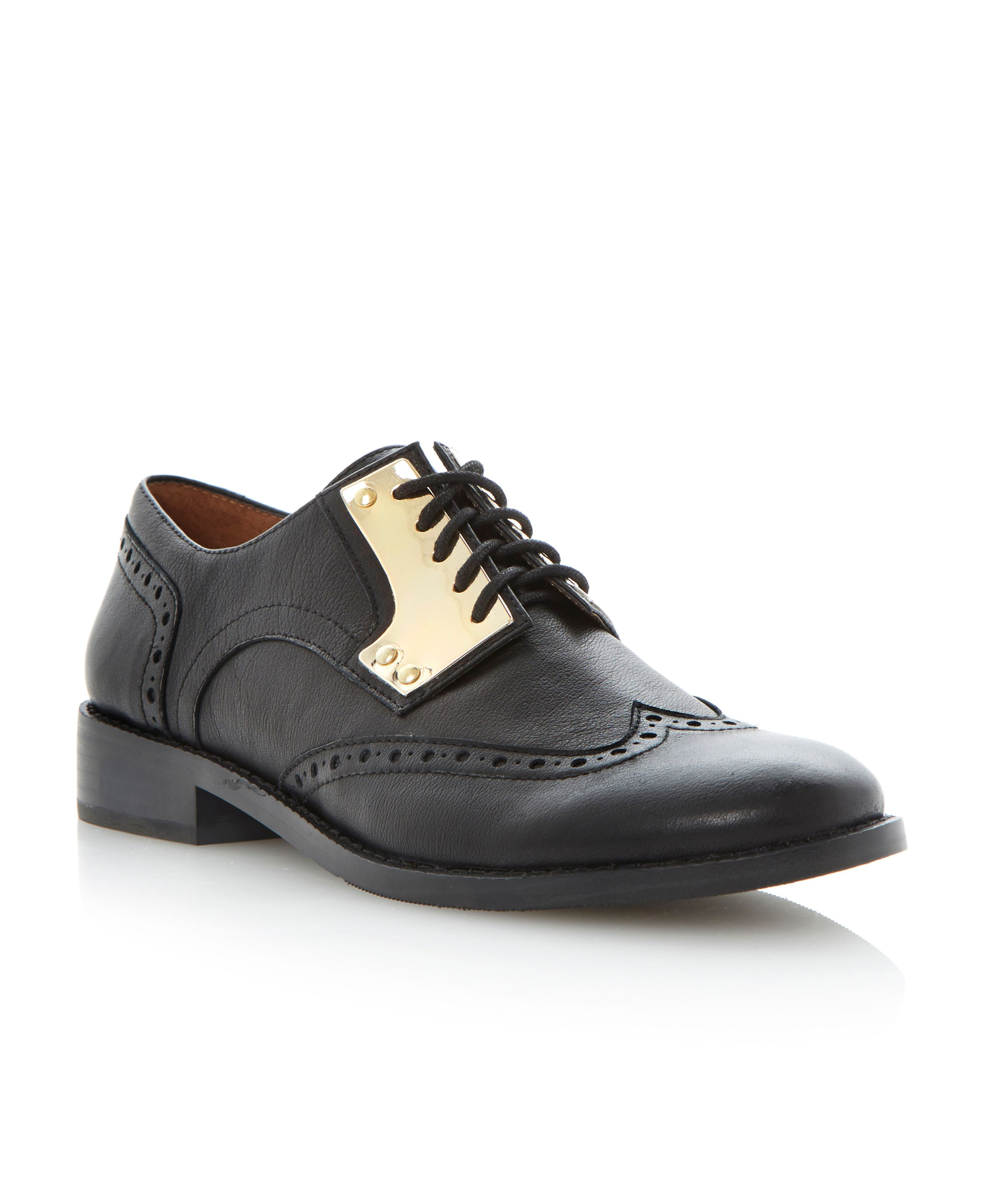 Beekman leather almond toe brogue shoes