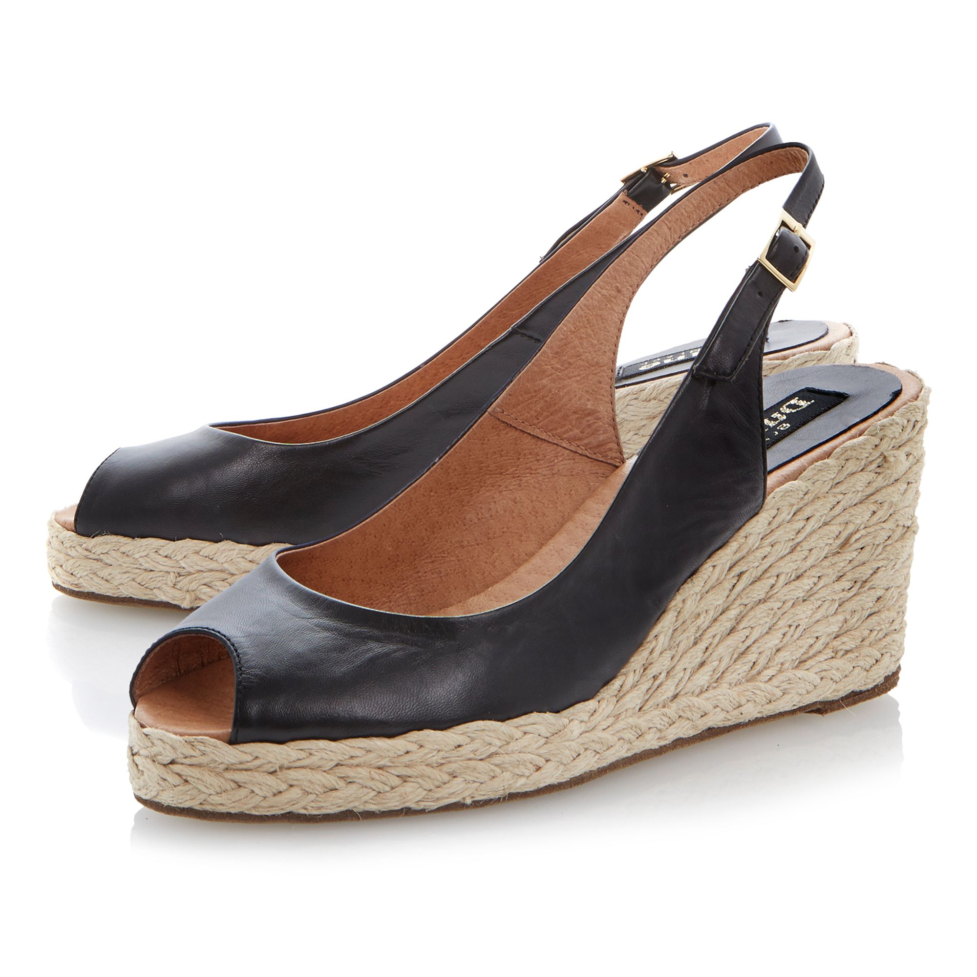 Lara leather peeptoe wedge espadrilles