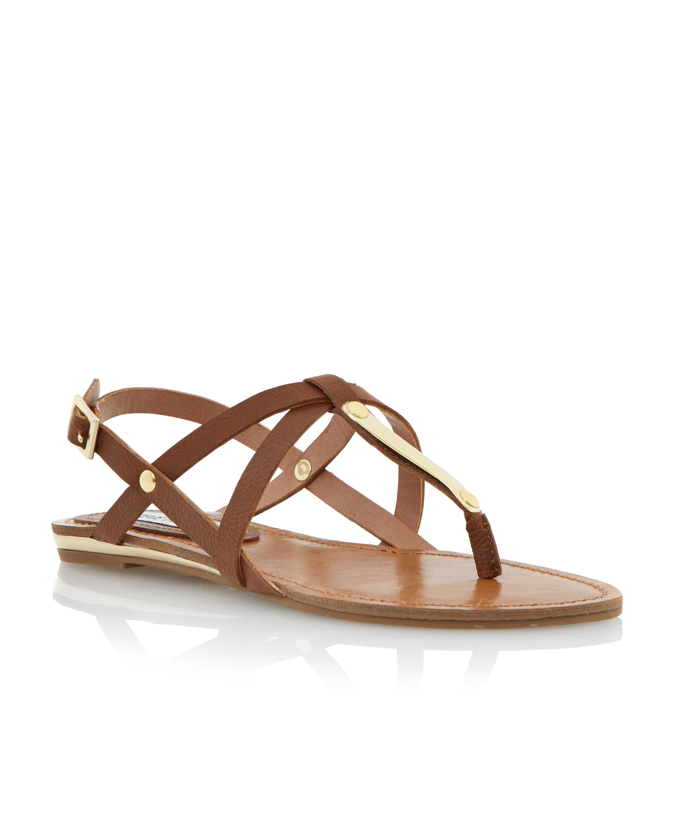 Henna metal detail toe post flat sandals