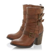 Rutkers leather almond toe block heel boots
