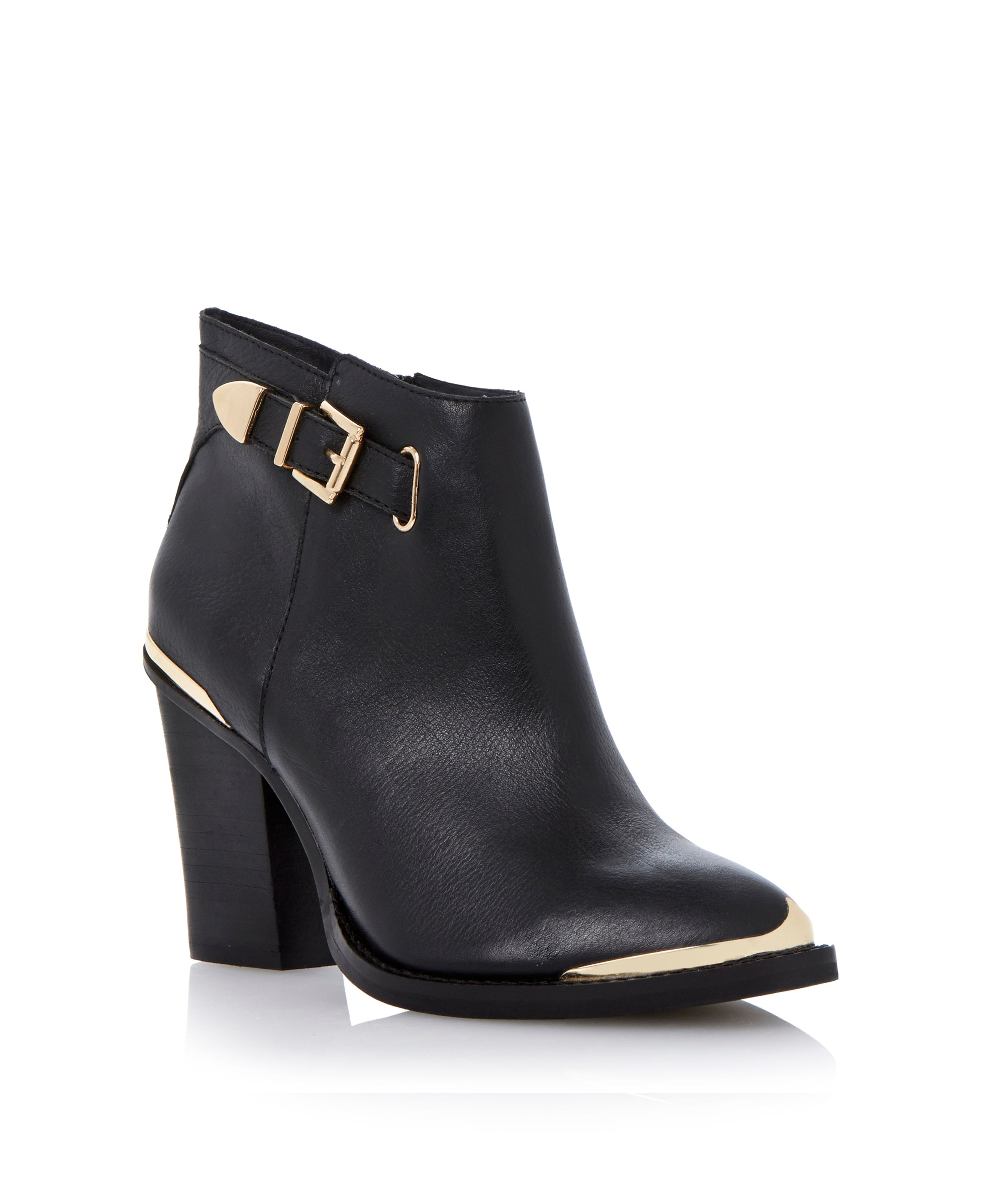 Partnir leather almond toe block heel ankle boots
