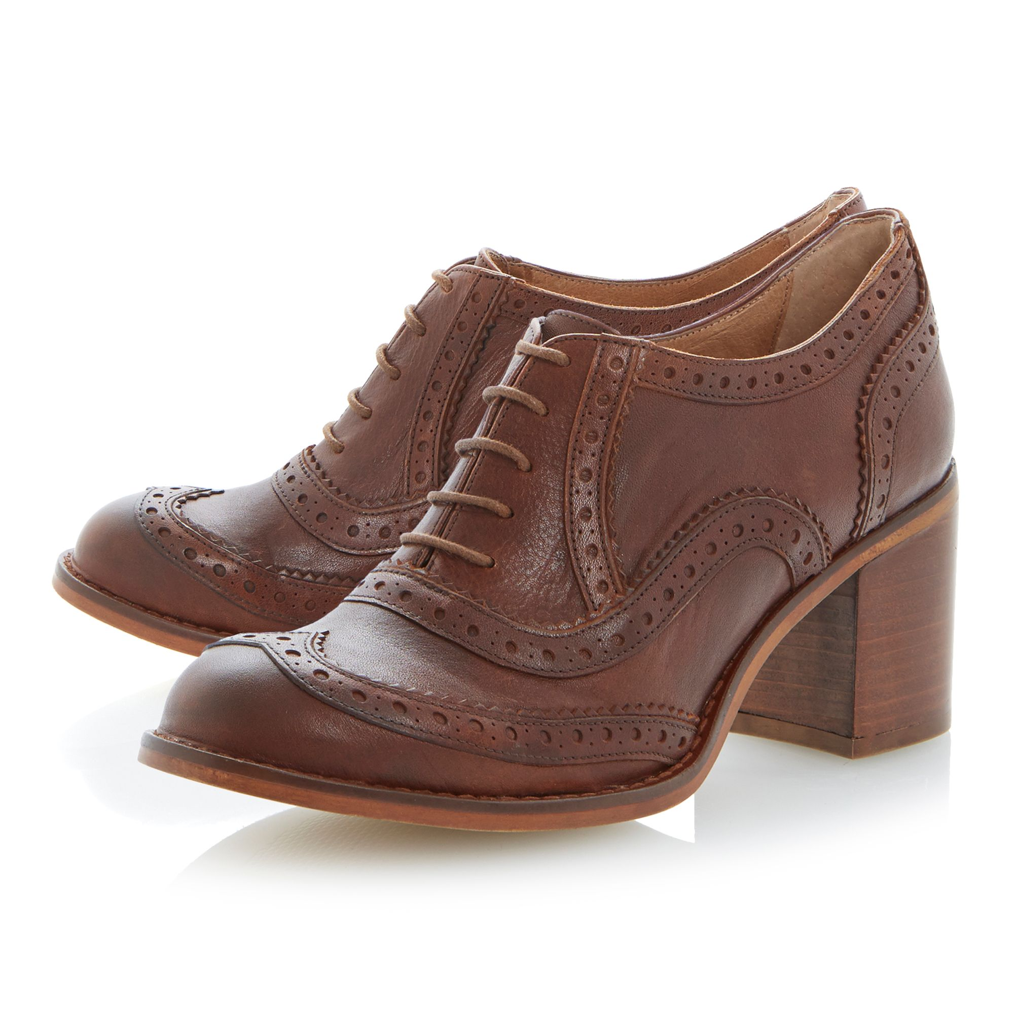 Amoy heeled lace up brogue shoes