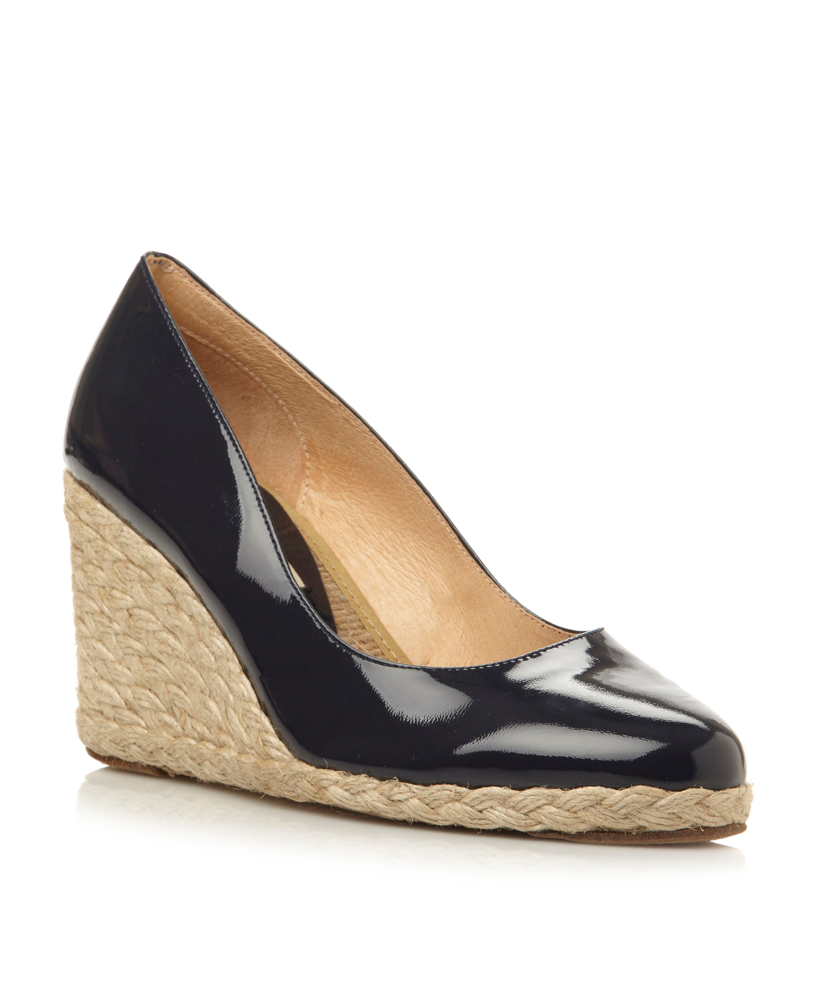 Annato patent wedge espadrille court shoes