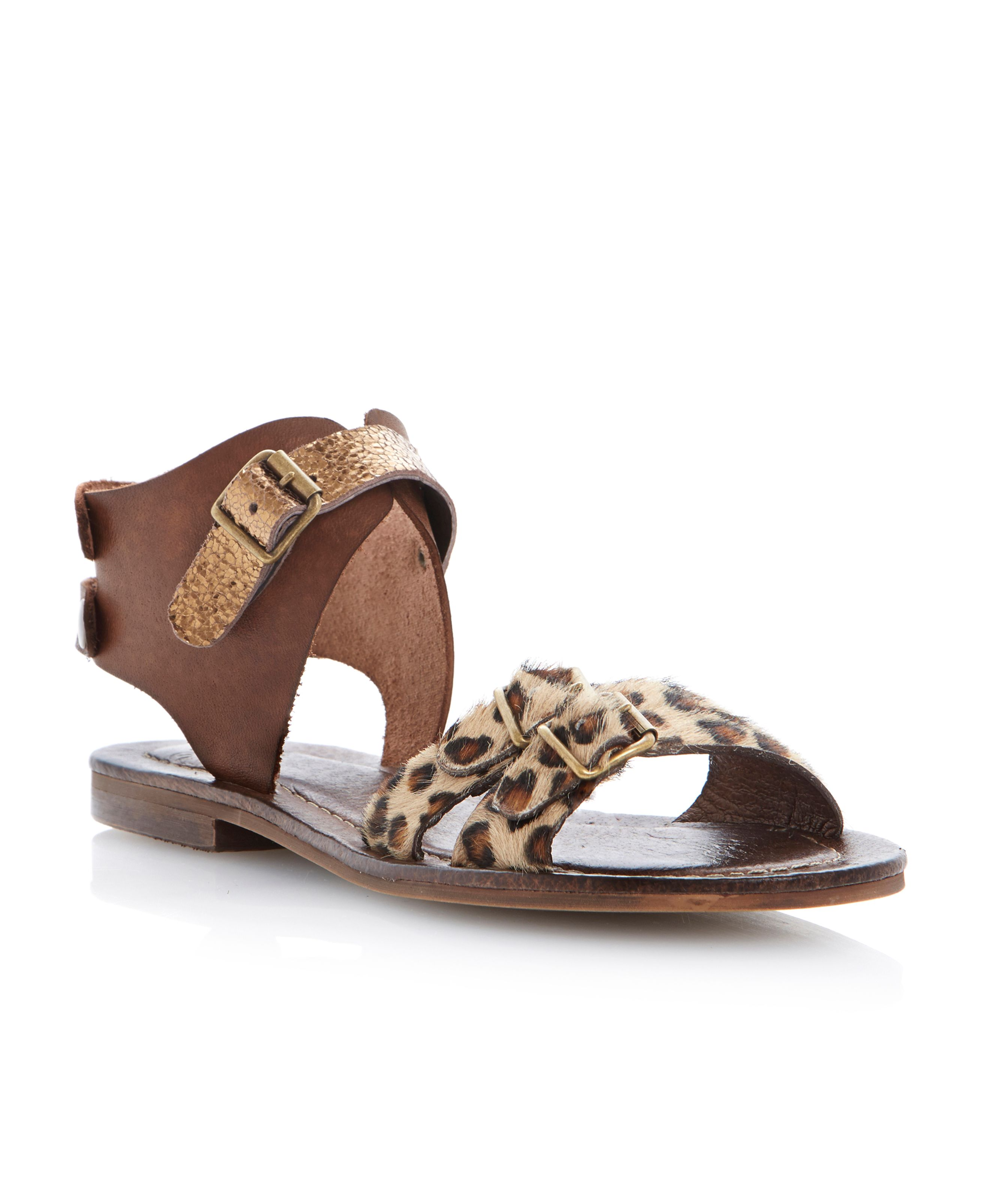 Jarva leather block heel buckle sandals