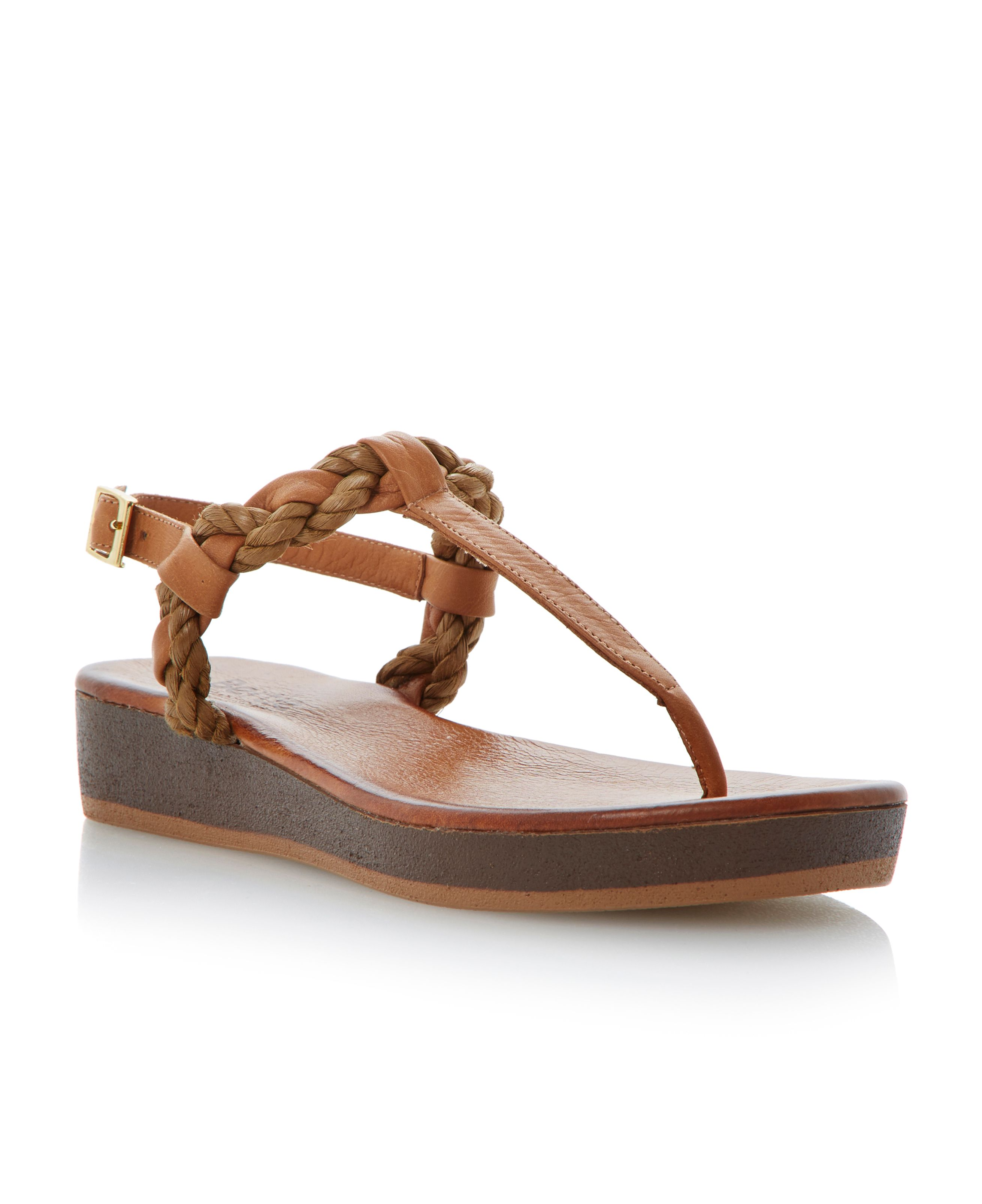Jar leather platform buckle sandals