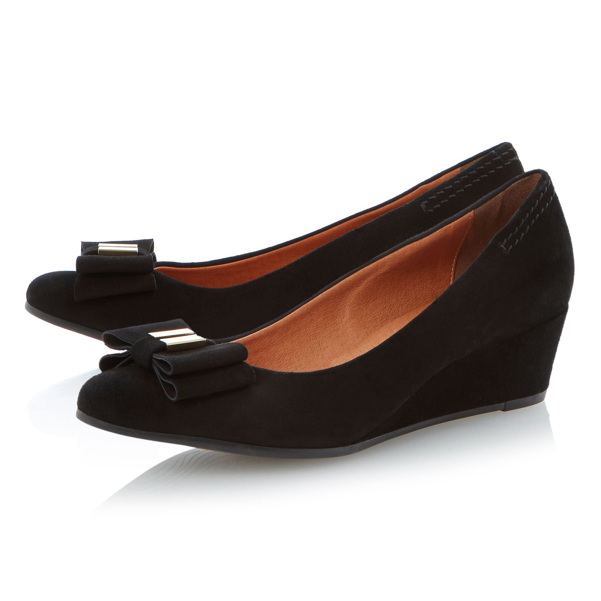 Adored suede pointed toe wedge court shoes