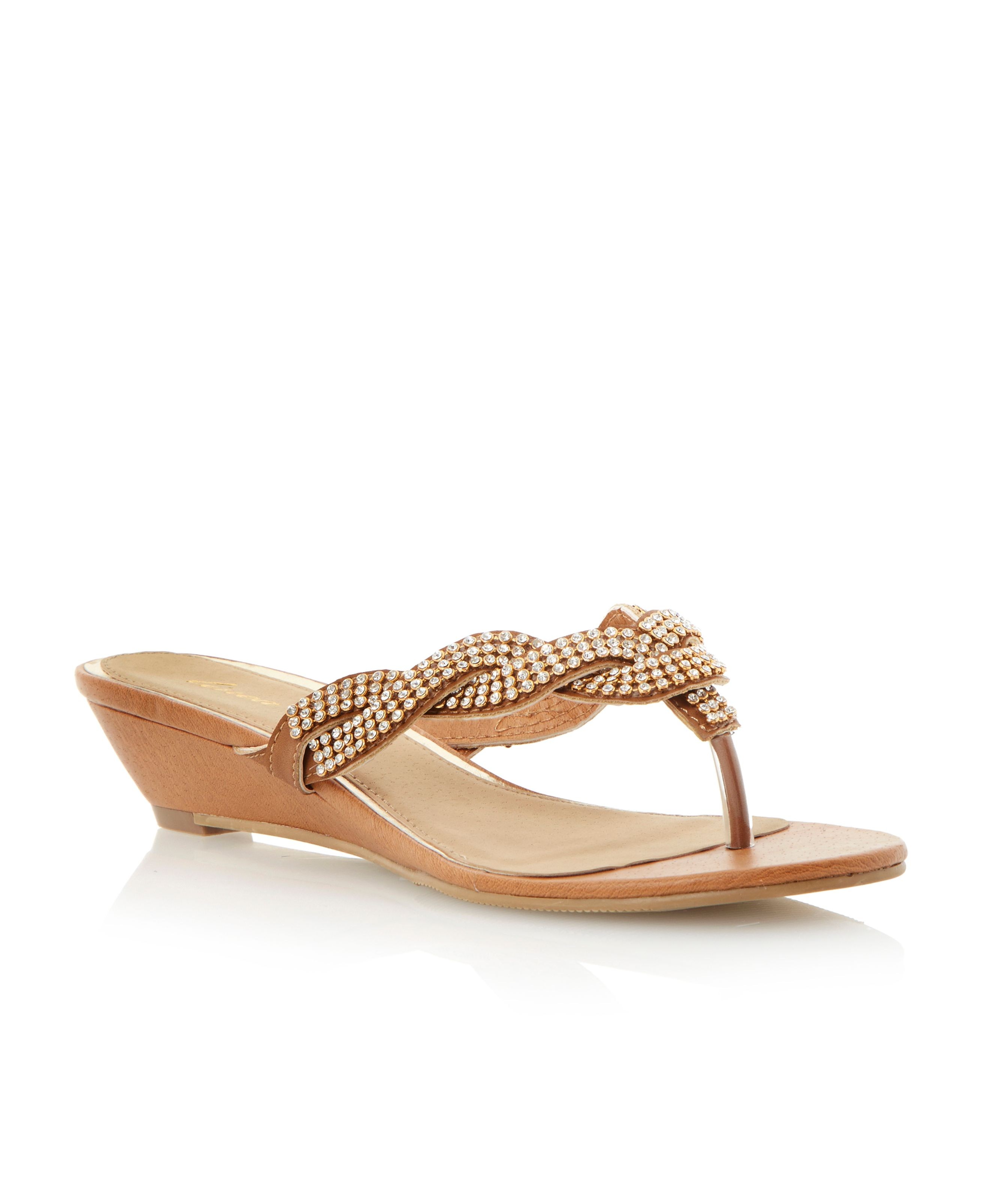 Gibilous diamante low wedge sandals