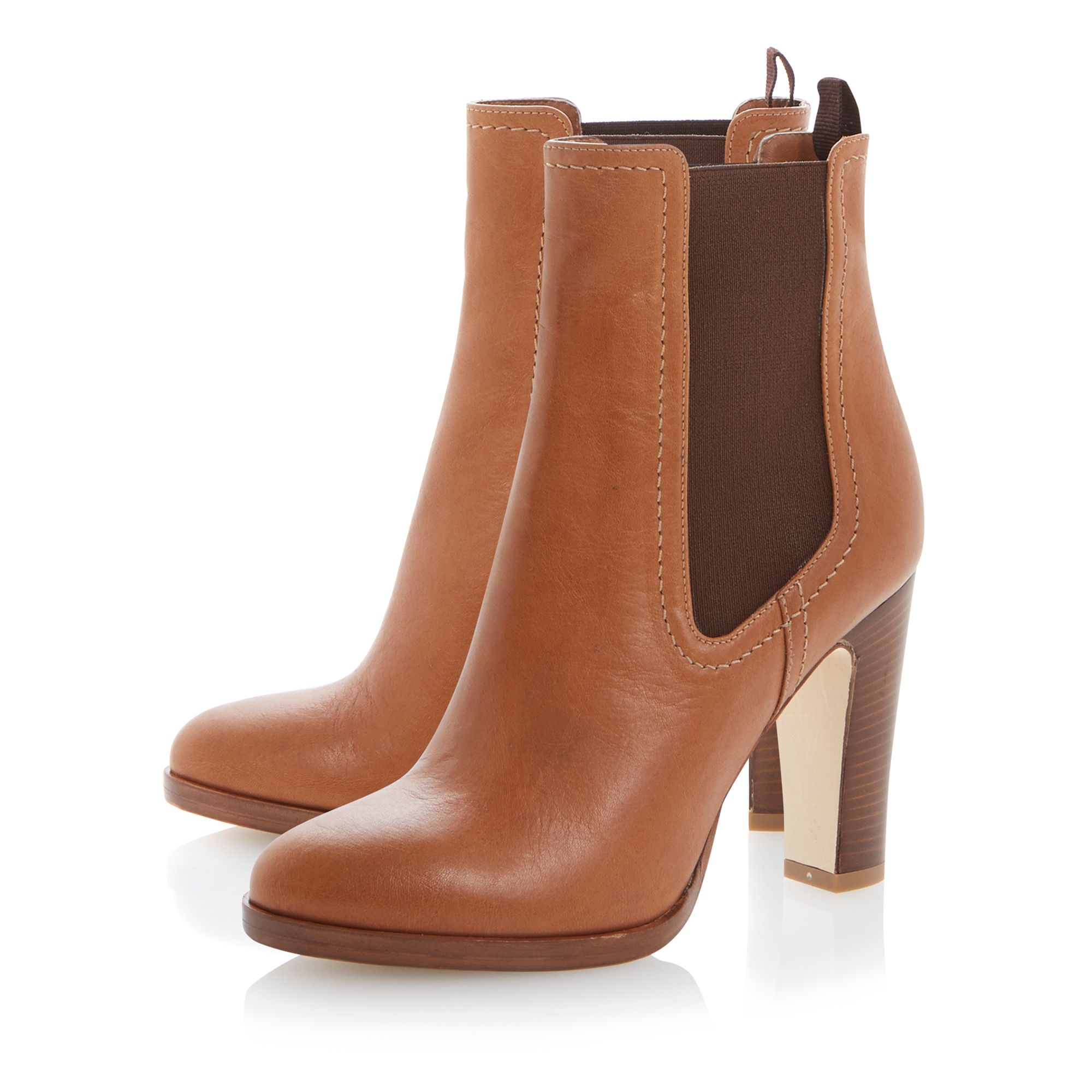 Robyn leather almond toe stacked heel boots