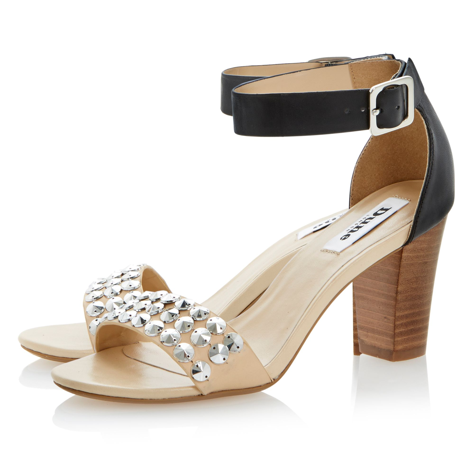 Flip leather block heel buckle sandals