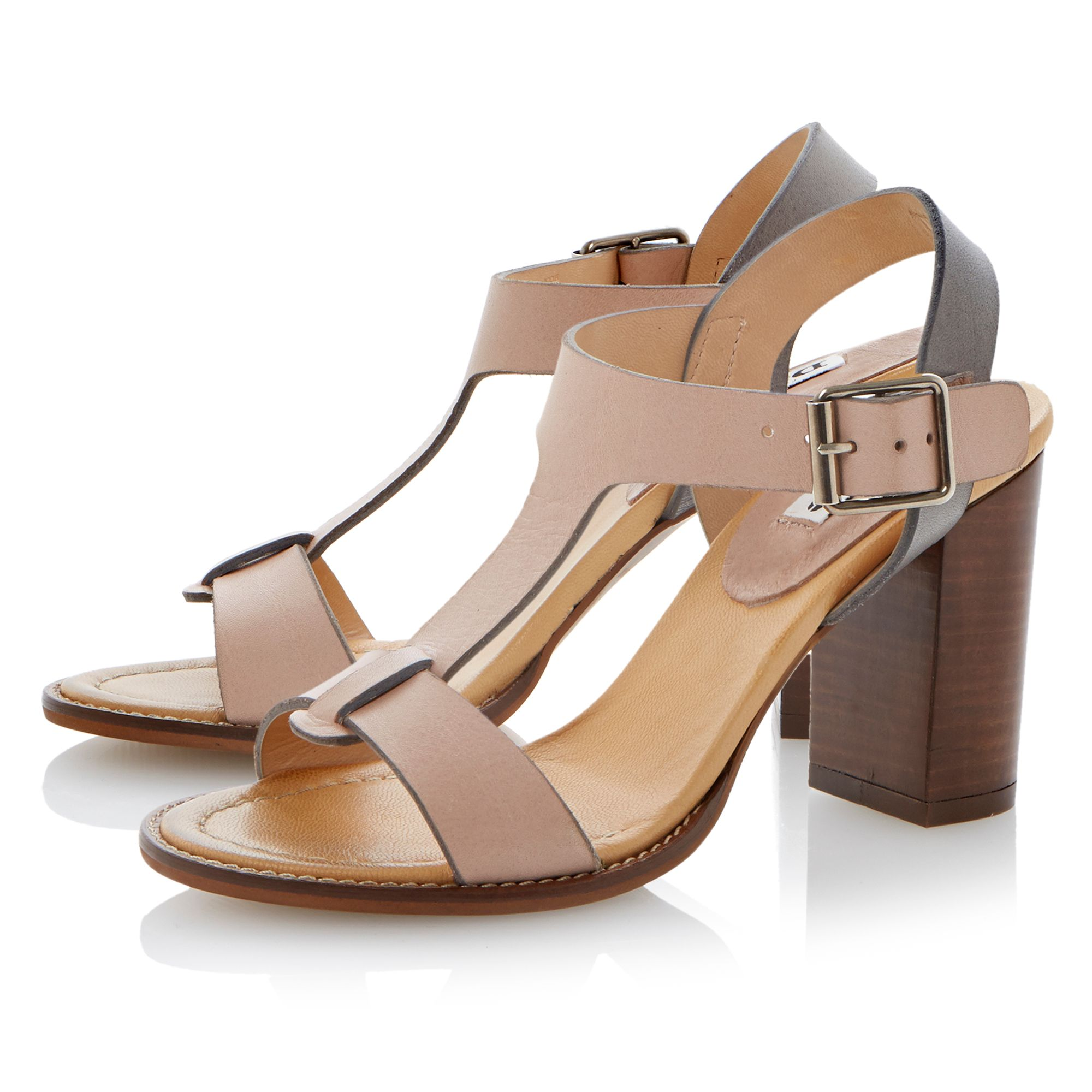 Flock leather block heel buckle sandals