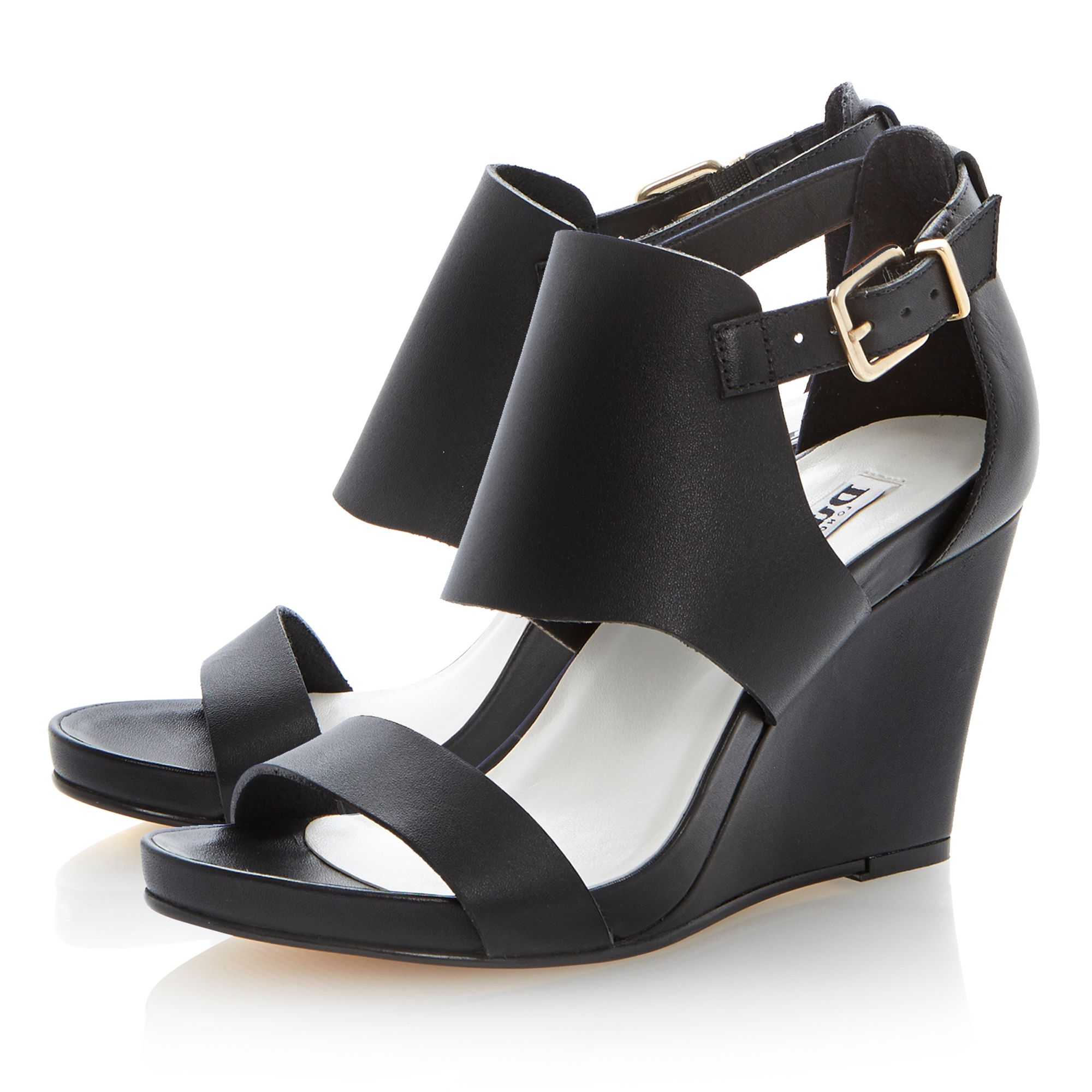 Givara leather wedge buckle sandals