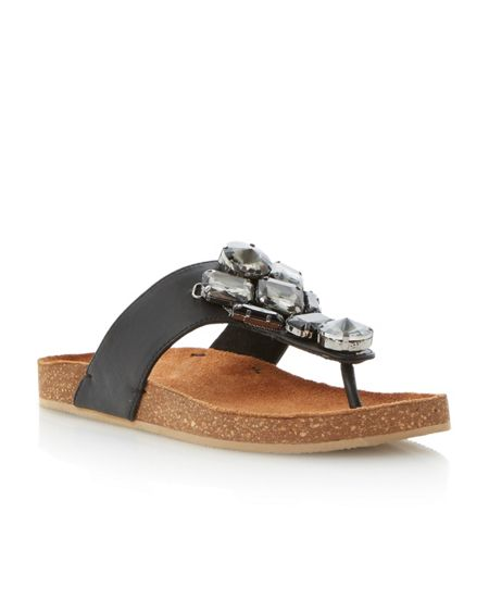 Bertie Jellow leather jewelled strap flat sandals