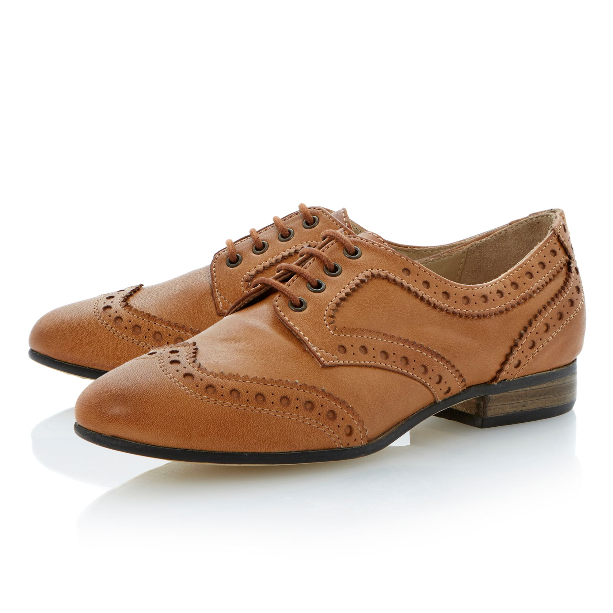 Linford leather almond toe stacked brogue shoes