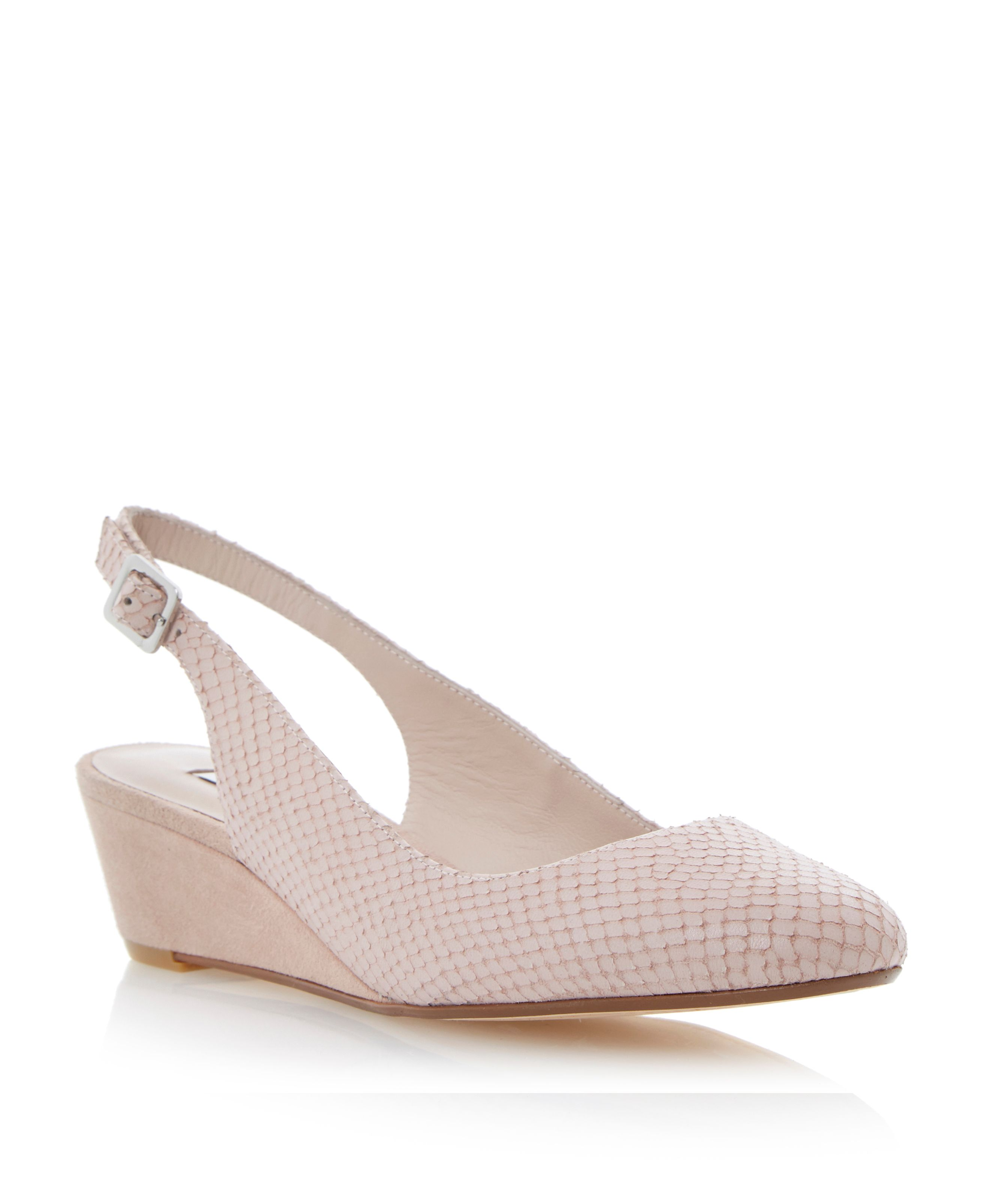 Candie reptile almond toe wedge court shoes