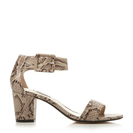 Dune Fri leather buckle ankle strap heels