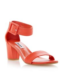 Fri leather buckle ankle strap heels