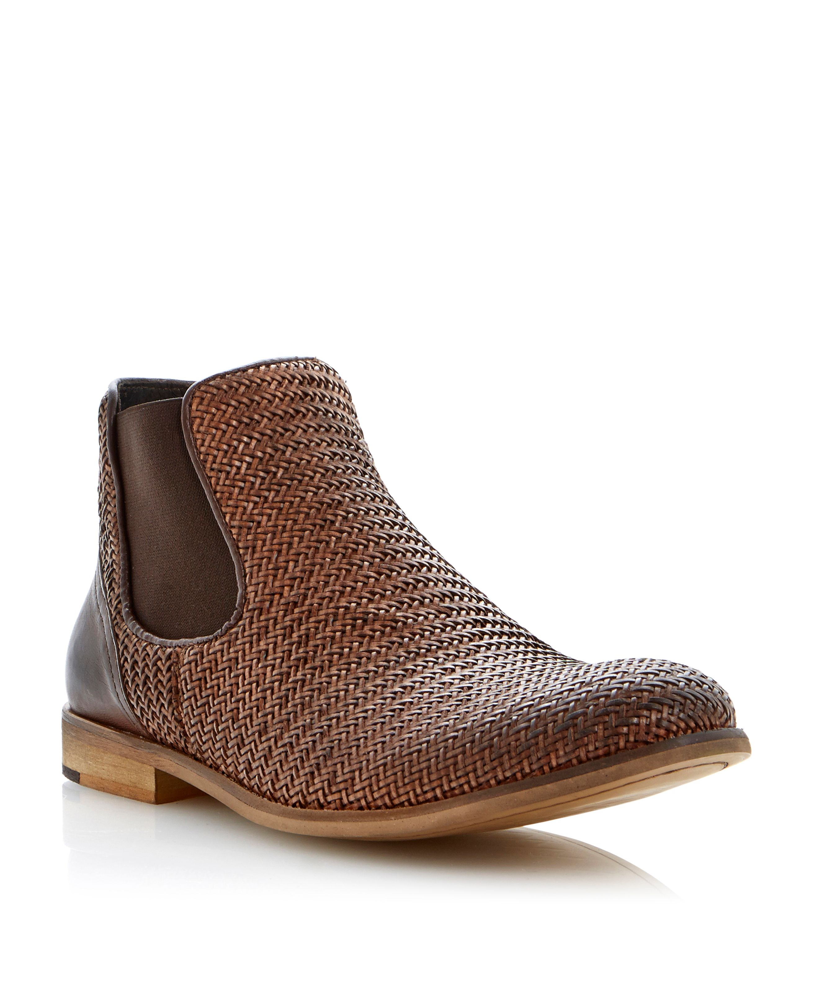 Criss cross elasticated woven chelsea boots