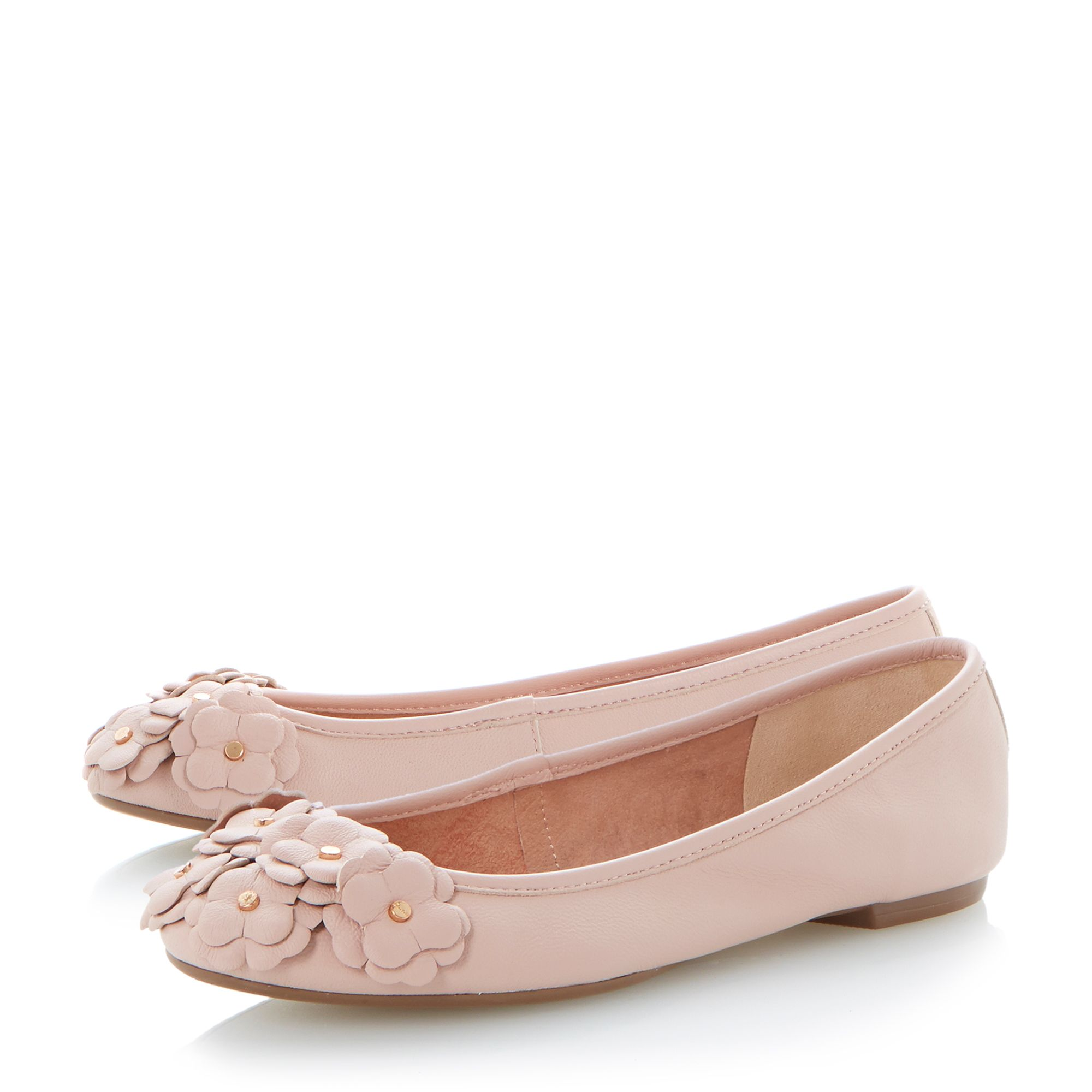 Milberry leather flower corsage ballerina shoes