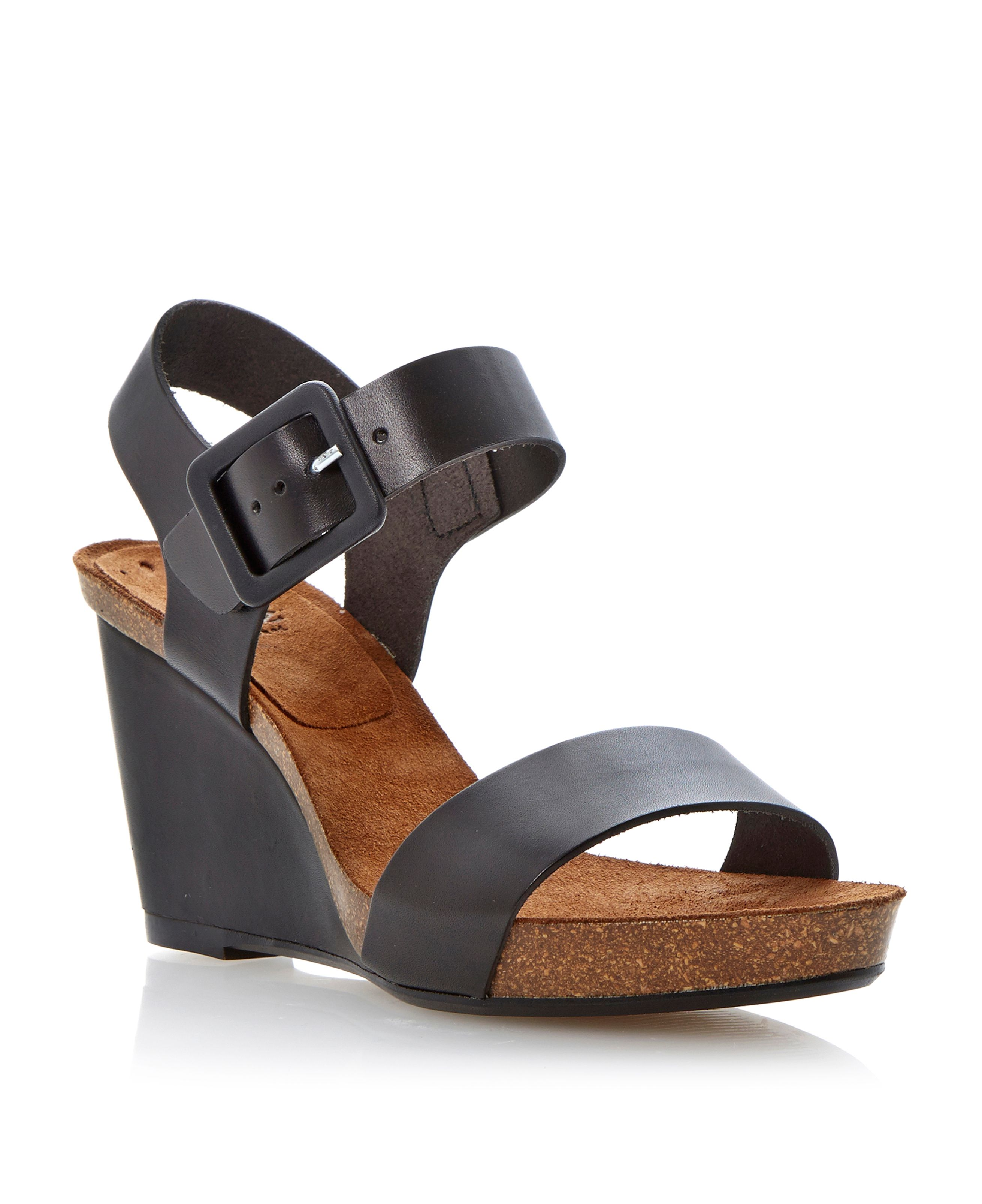 Gina leather cork wedge buckle sandals
