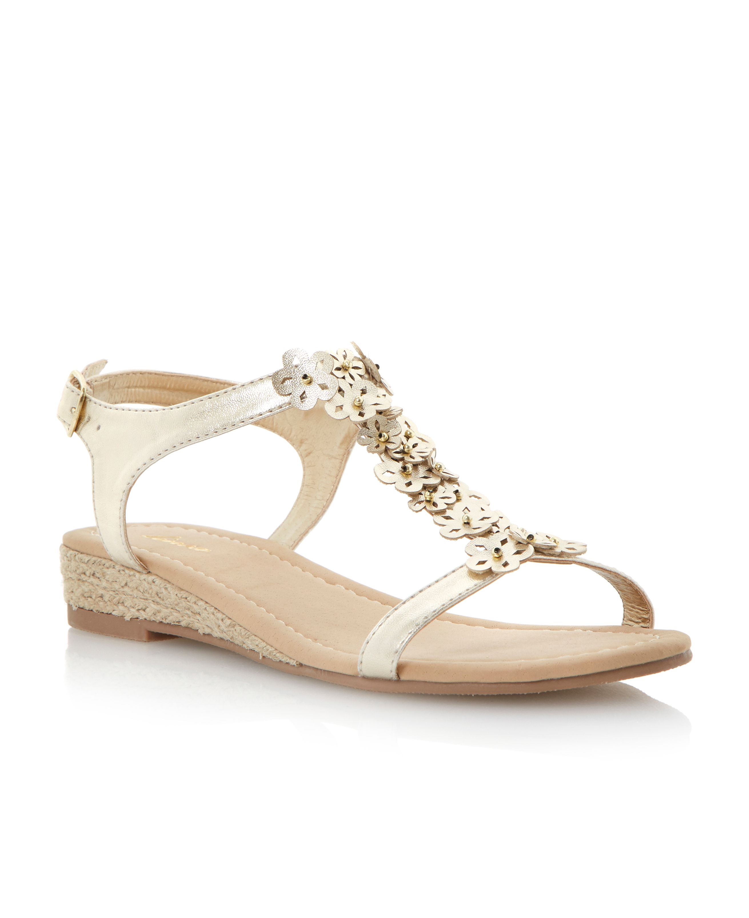 Glower metallic wedge embellished sandals