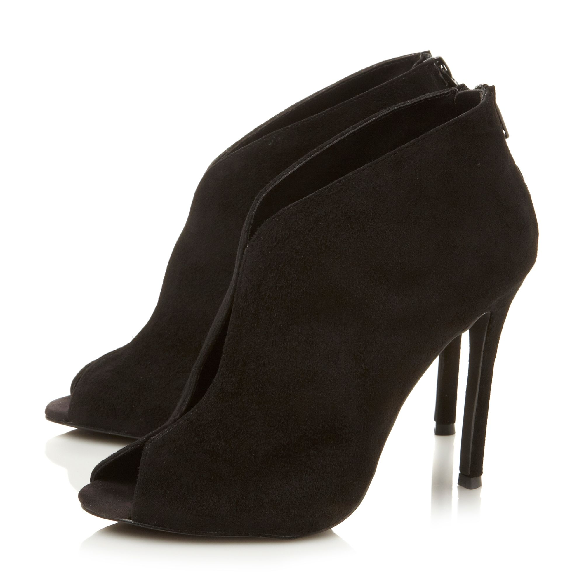 Imaginee suede peeptoe stiletto boots