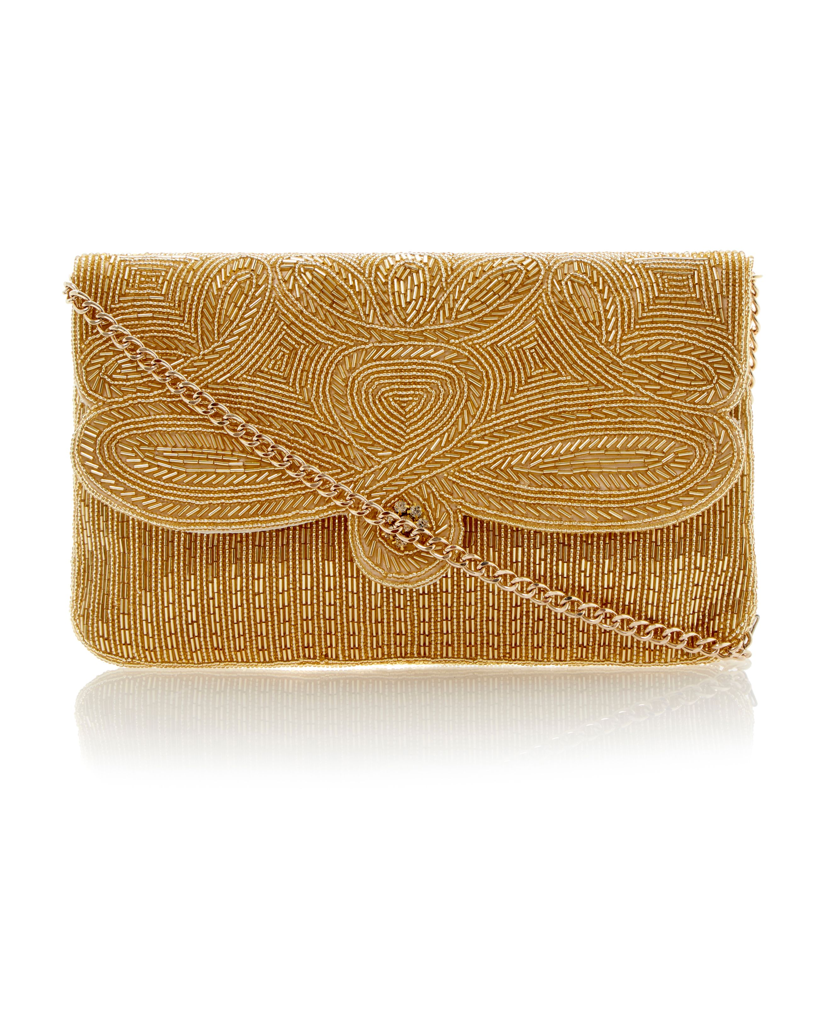 Eazie swirl beaded clutch bag
