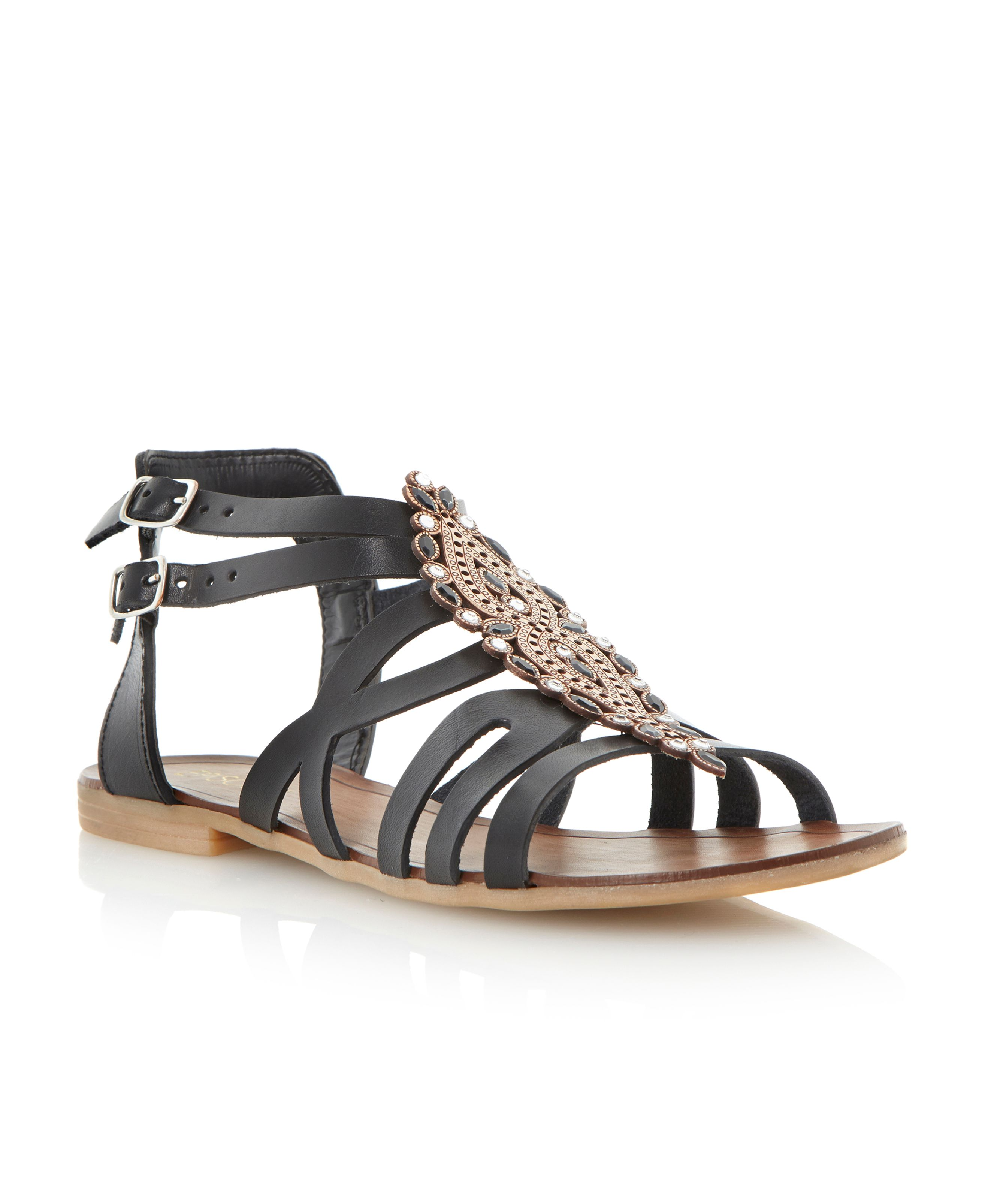 Janterina leather flat sandals