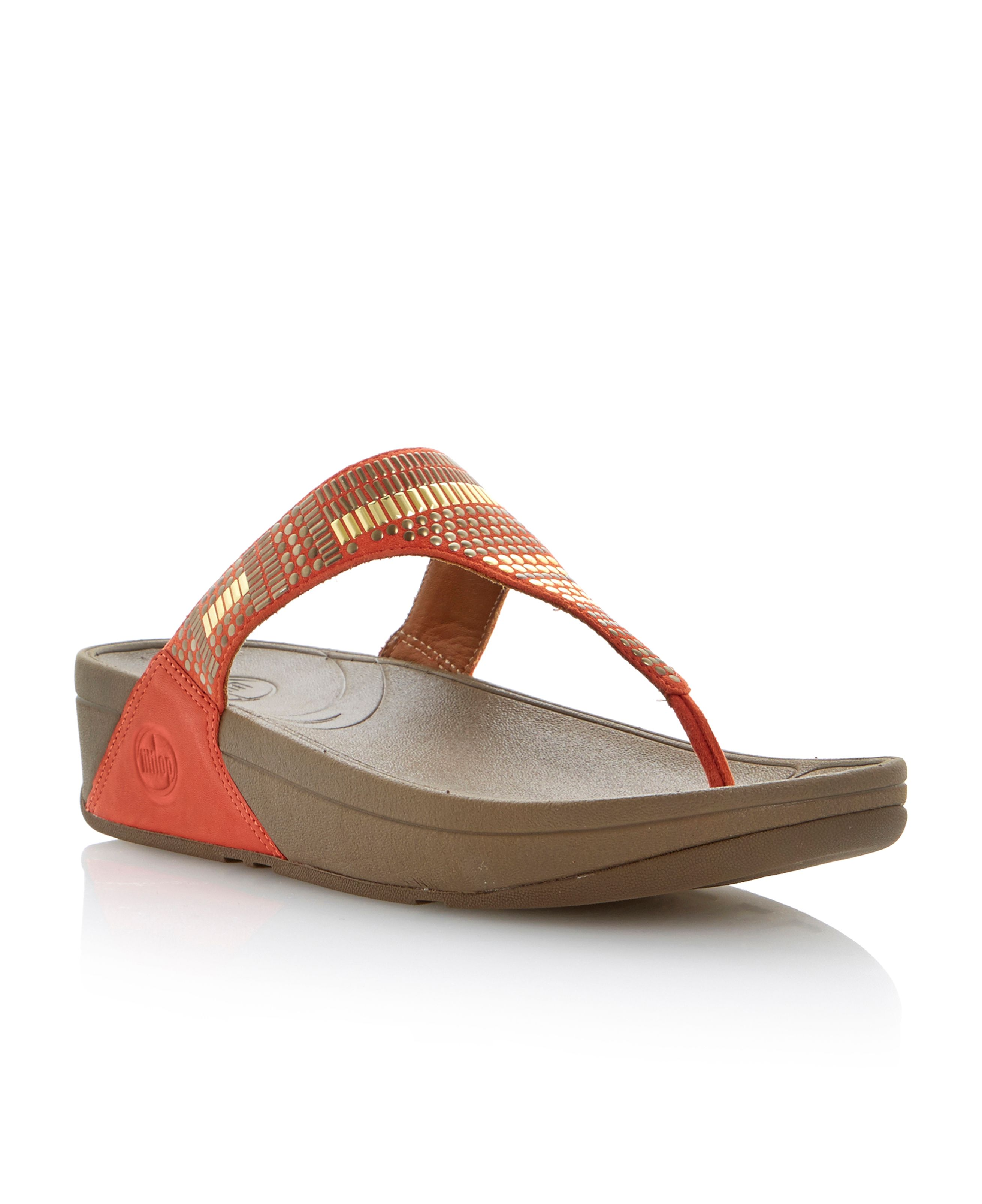 Chada aztek leather round toe wedge sandals
