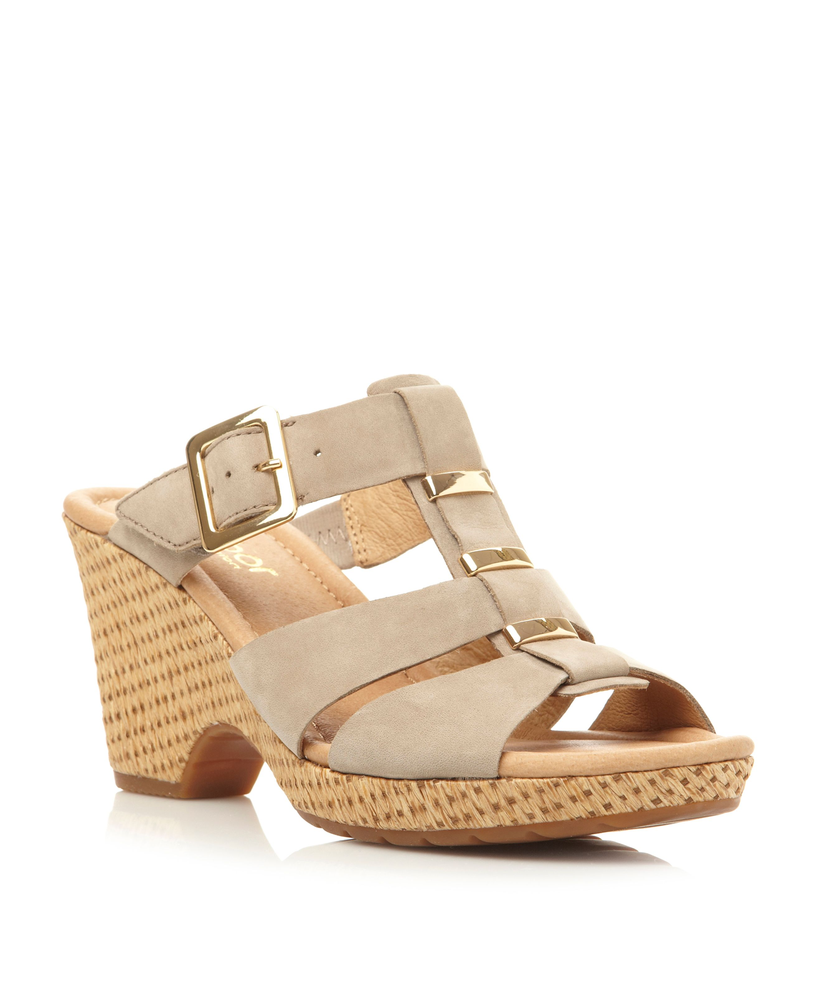 Courage leather buckle wedge sandals