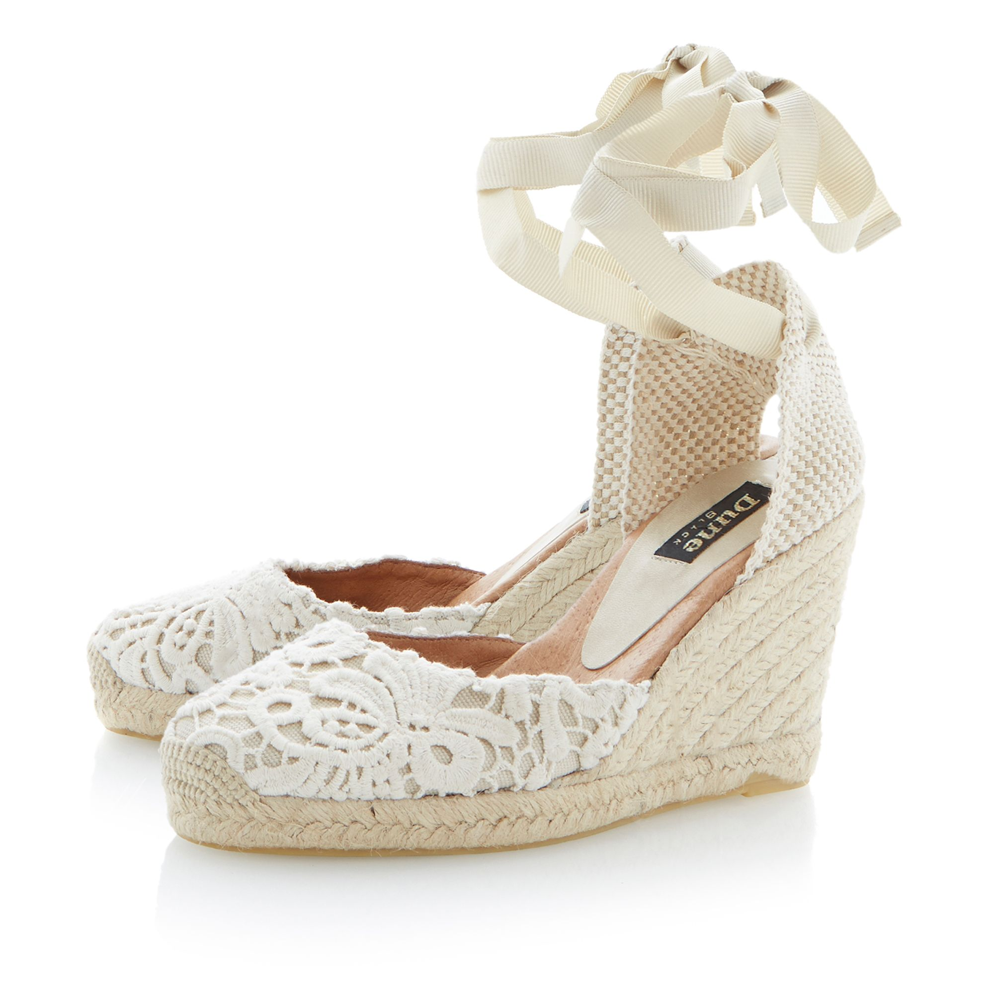 Lambo fabric round toe wedge espadrilles