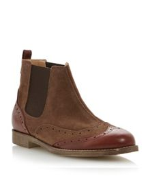 Pander leather block heel brogue ankle boots