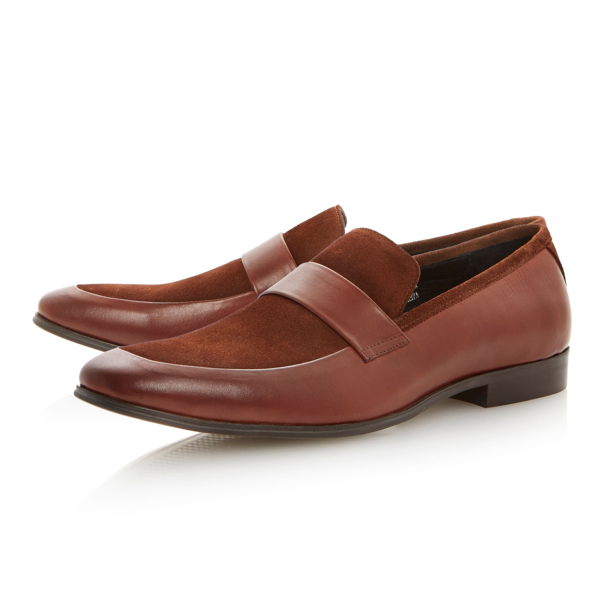 Avenger leather suede saddle loafers