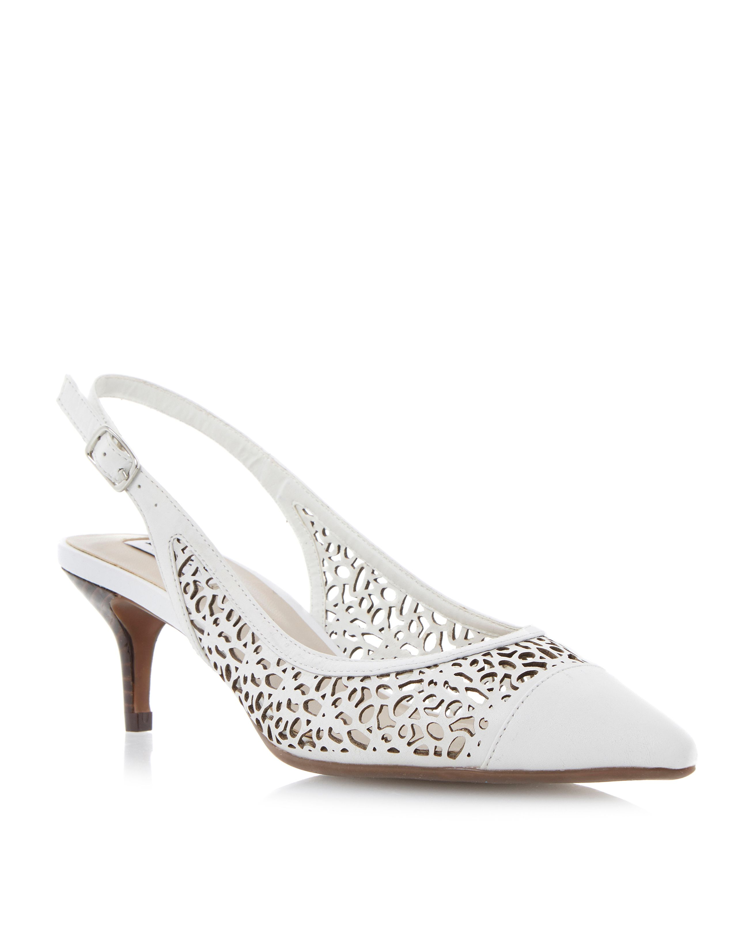 Cora leather pointed stiletto laser court shoes