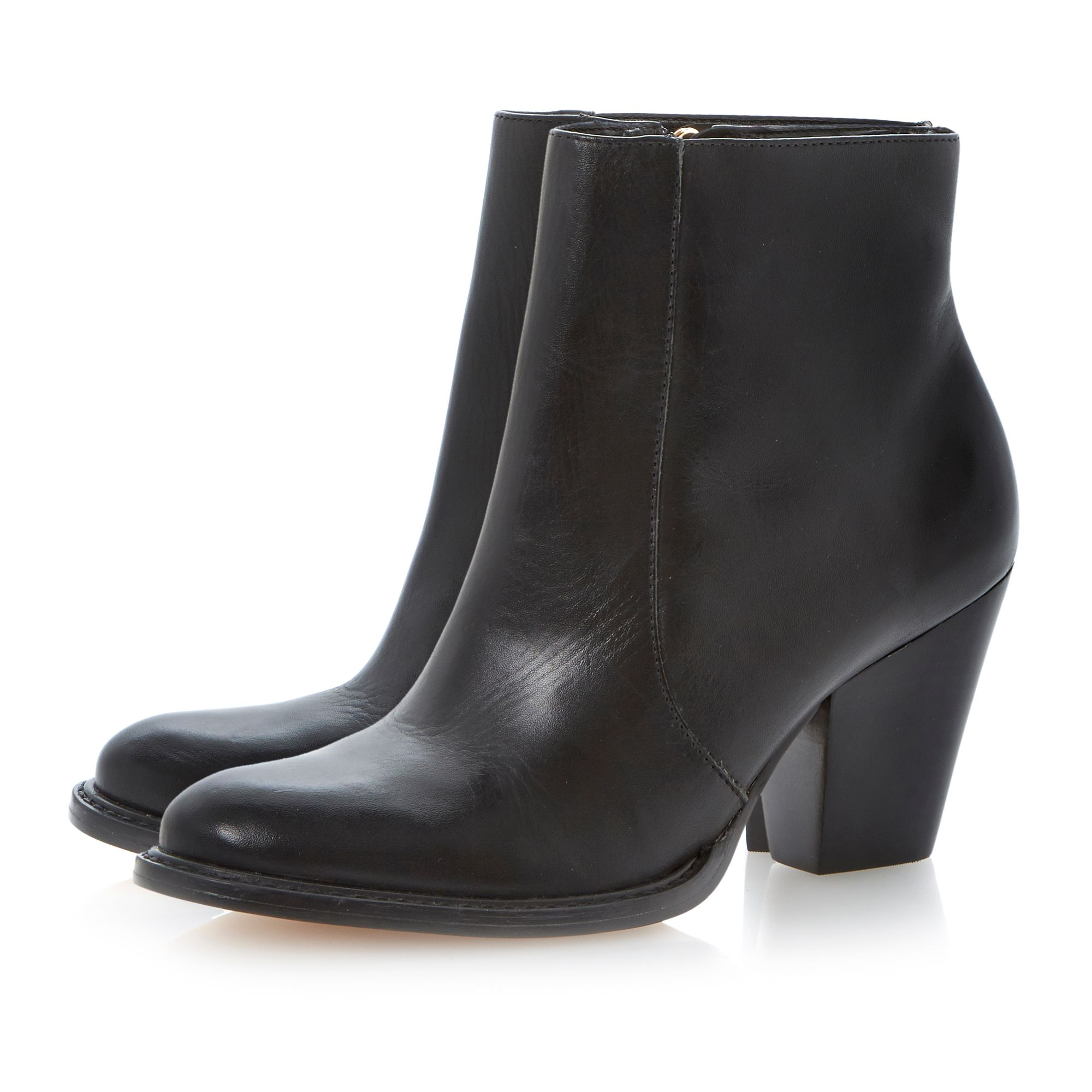 Pemba leather almond toe stacked heel boots
