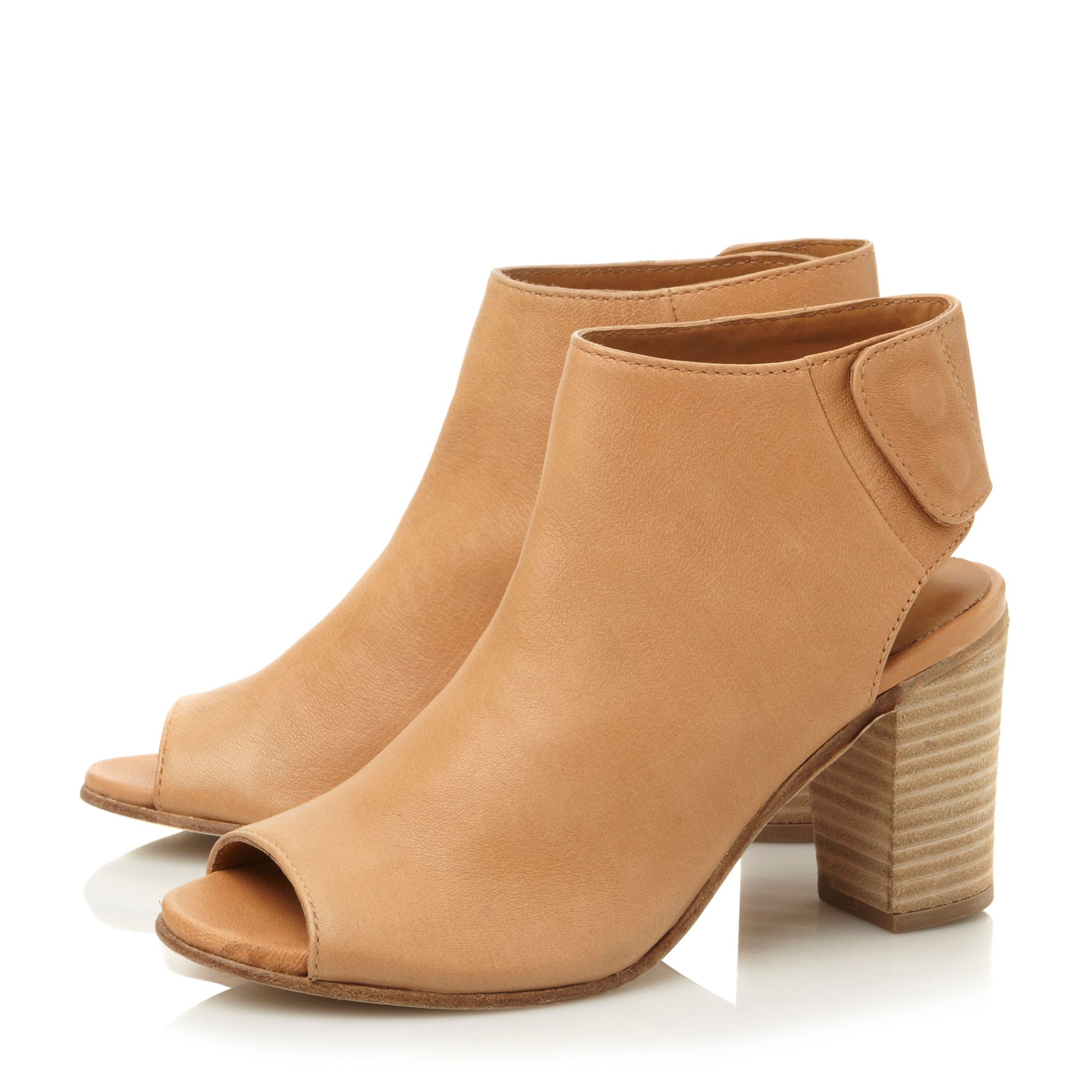 Felicity leather peeptoe block heel ankle boots