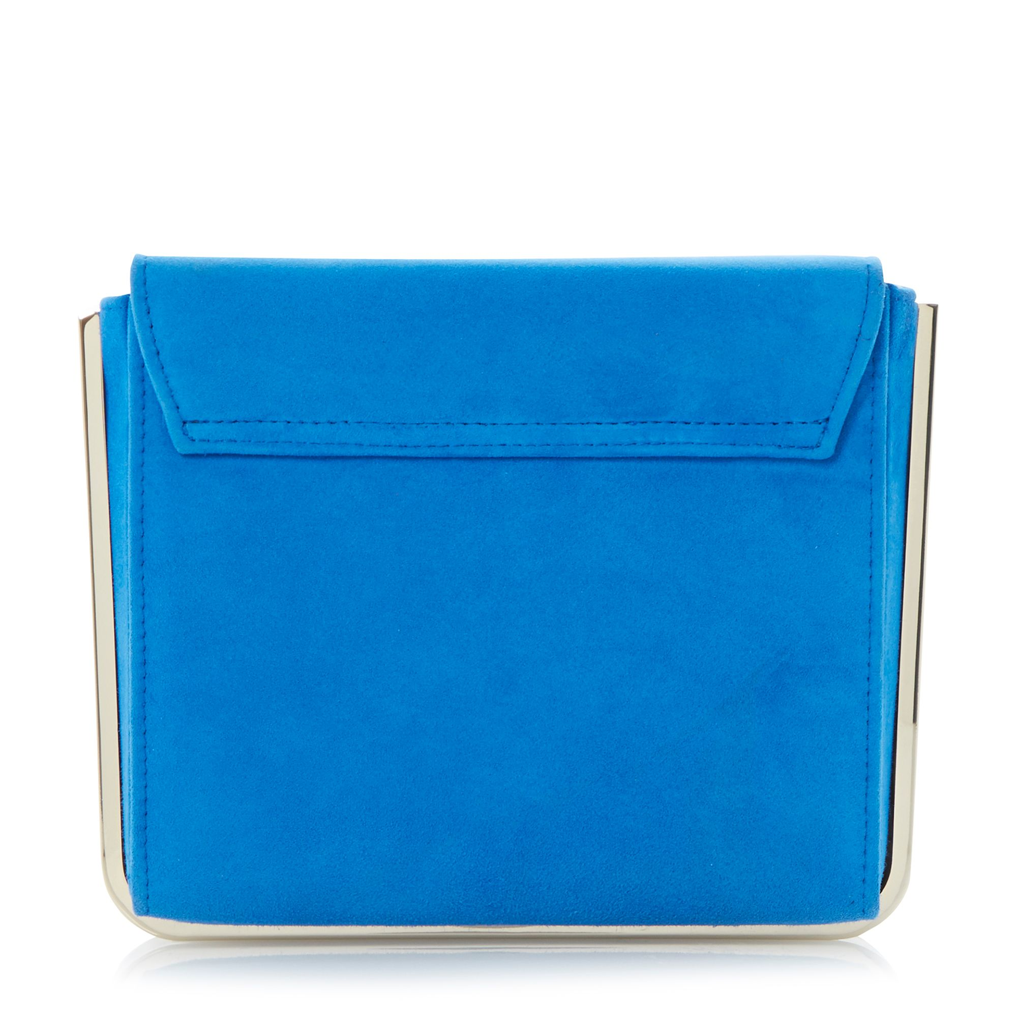 Blaze suede metal frame clutch bag