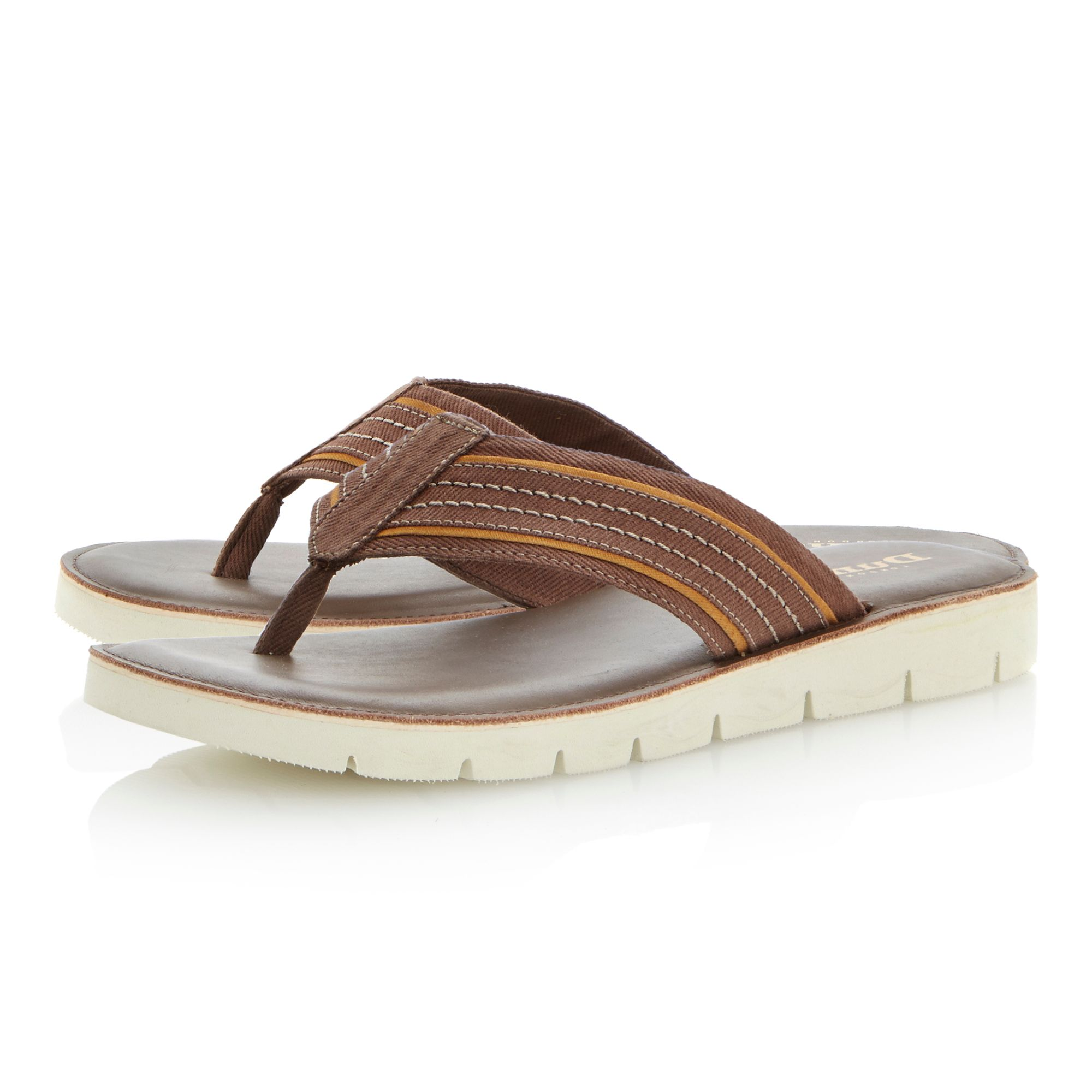 Izzard striped canvas white sole flip flops
