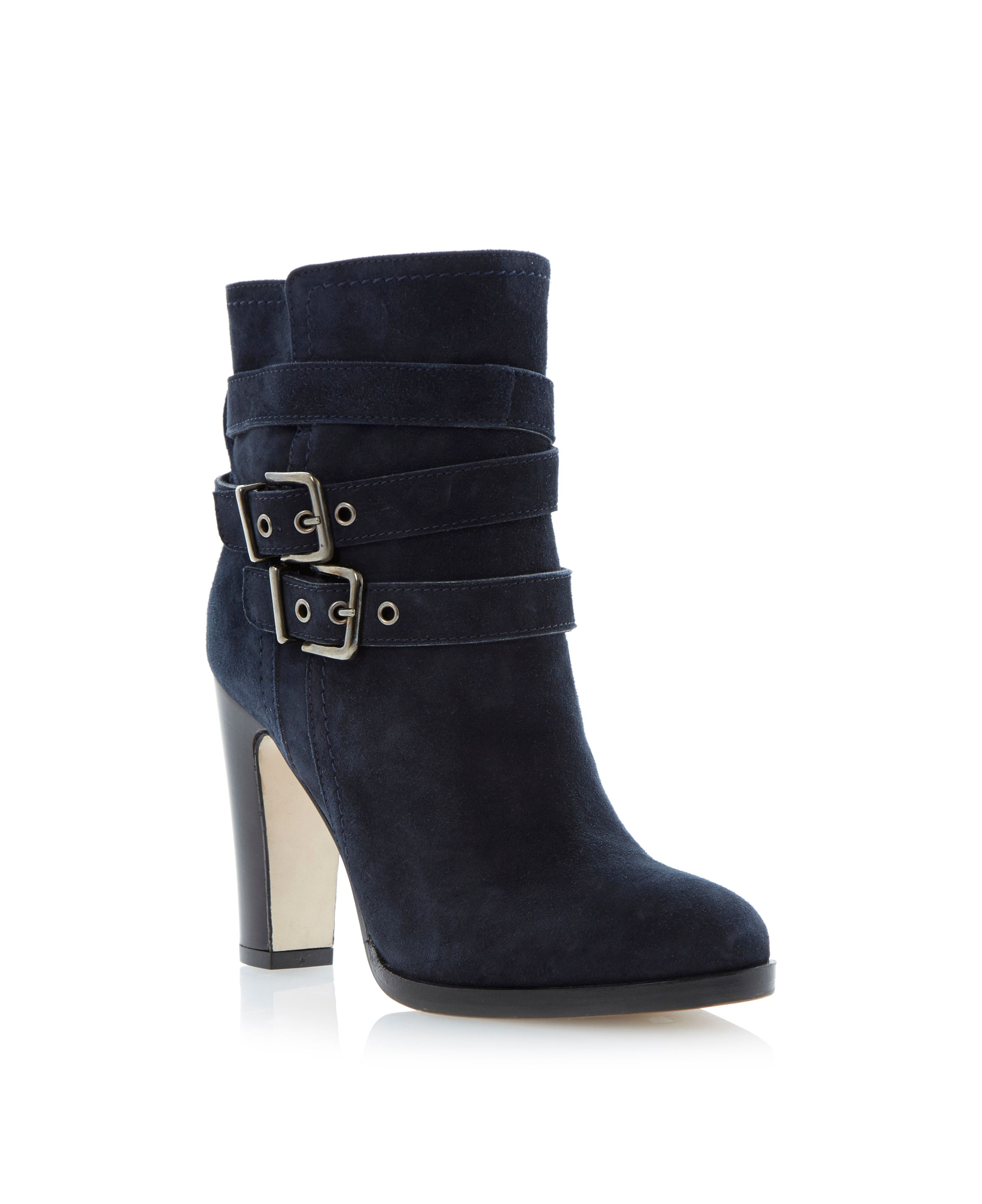 Panto suede almond toe stacked heel ankle boots