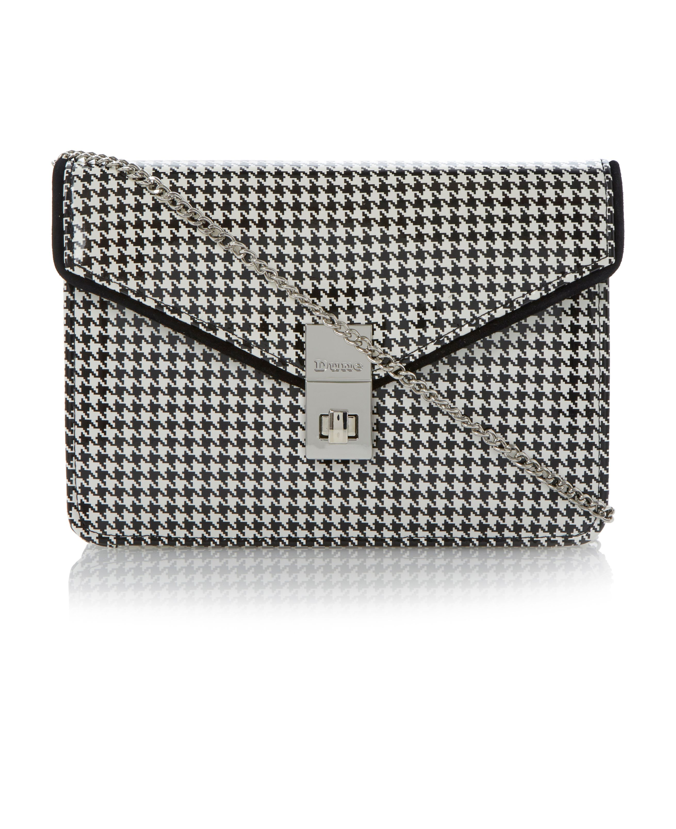 Brookside patent dogtooth envelope clutch bag