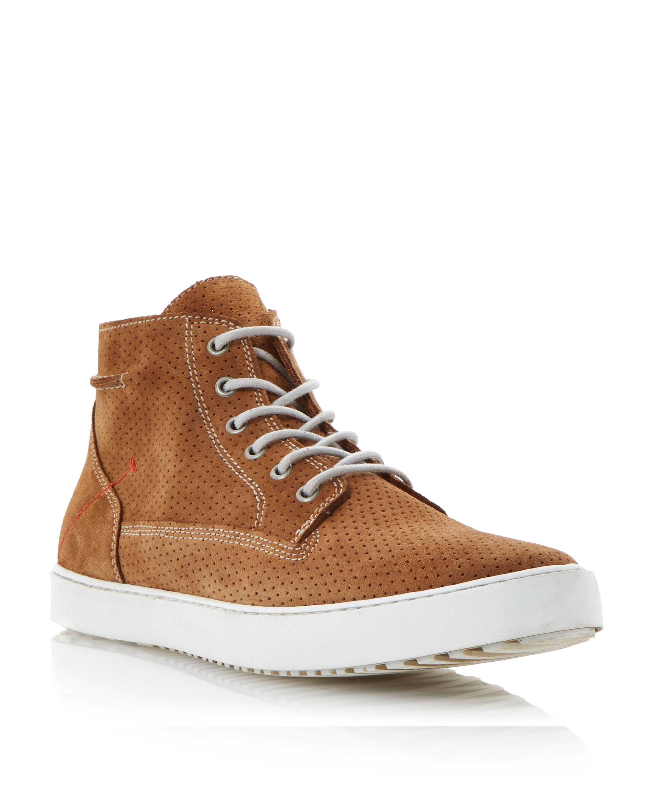 Sculpture lace up perforated suede high tops