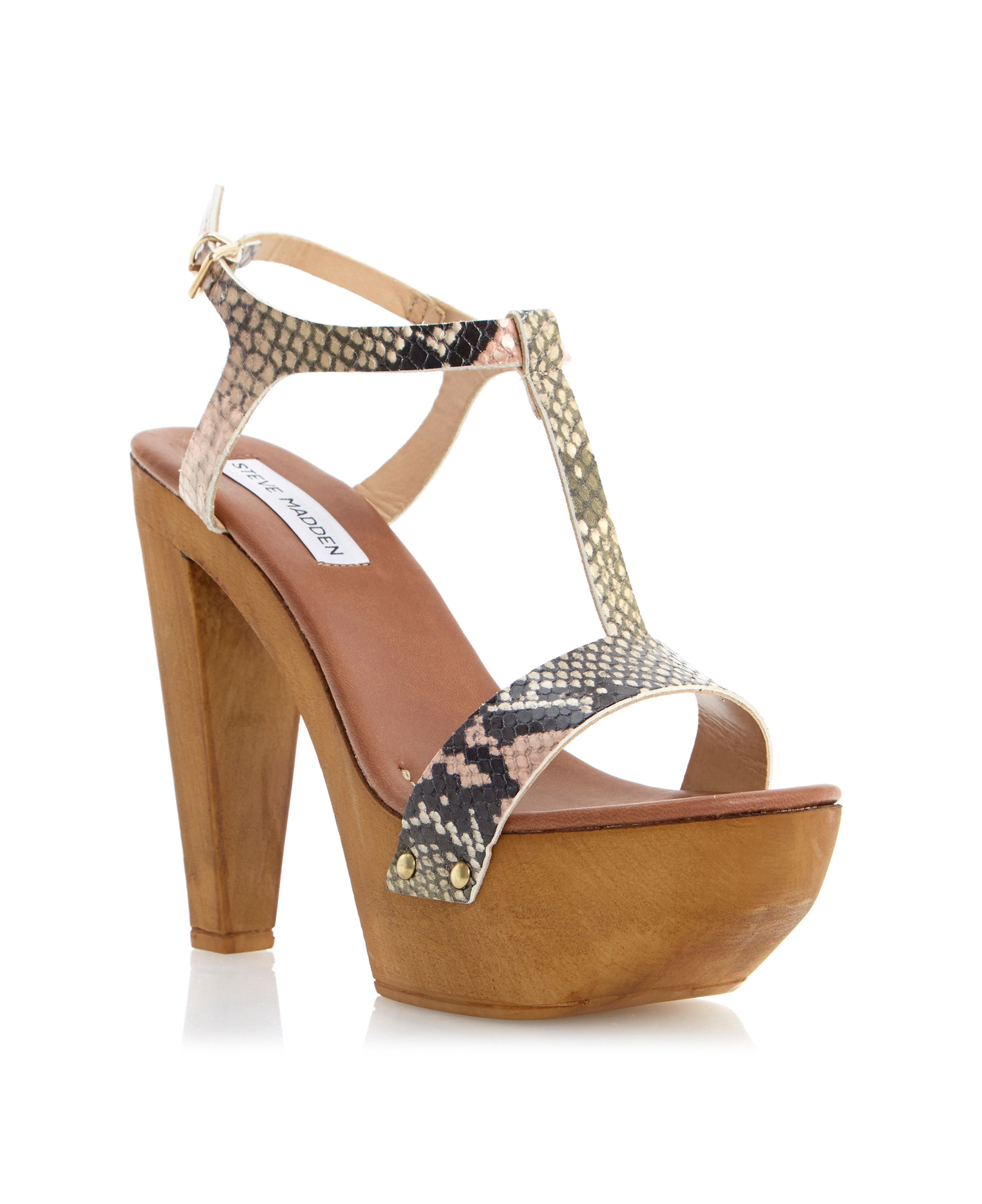 Ownit leather block heel buckle sandals