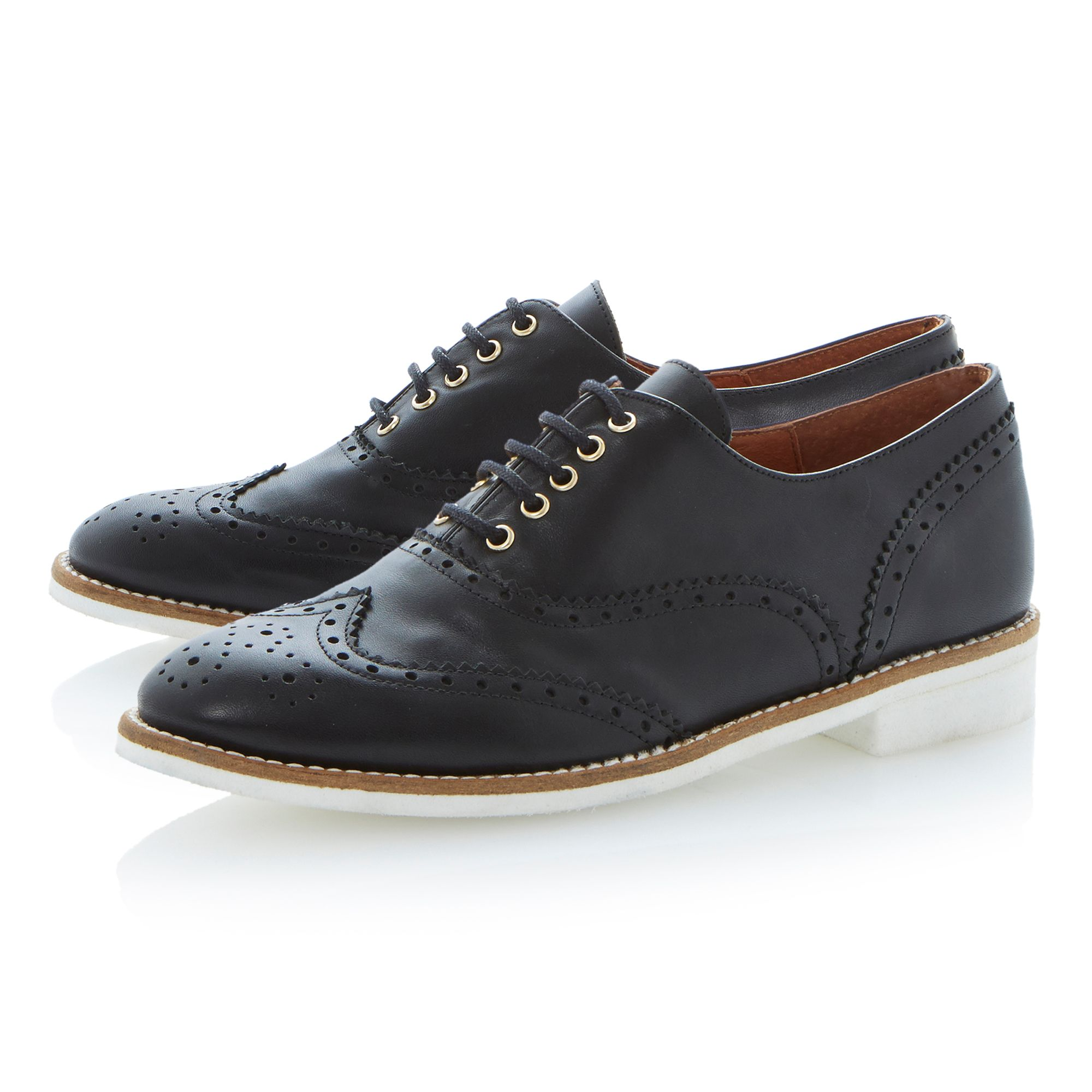 Leopold round toe block heel brogue shoes