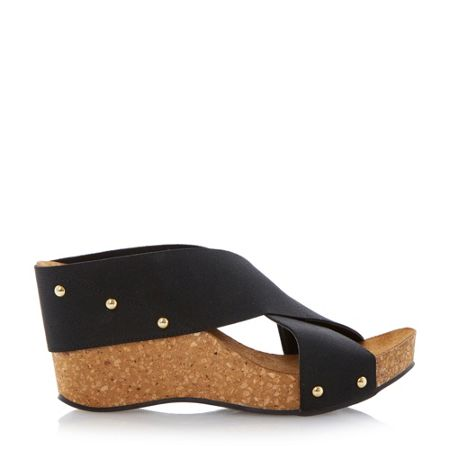 Dune Gladley crossover strap wedge sandals